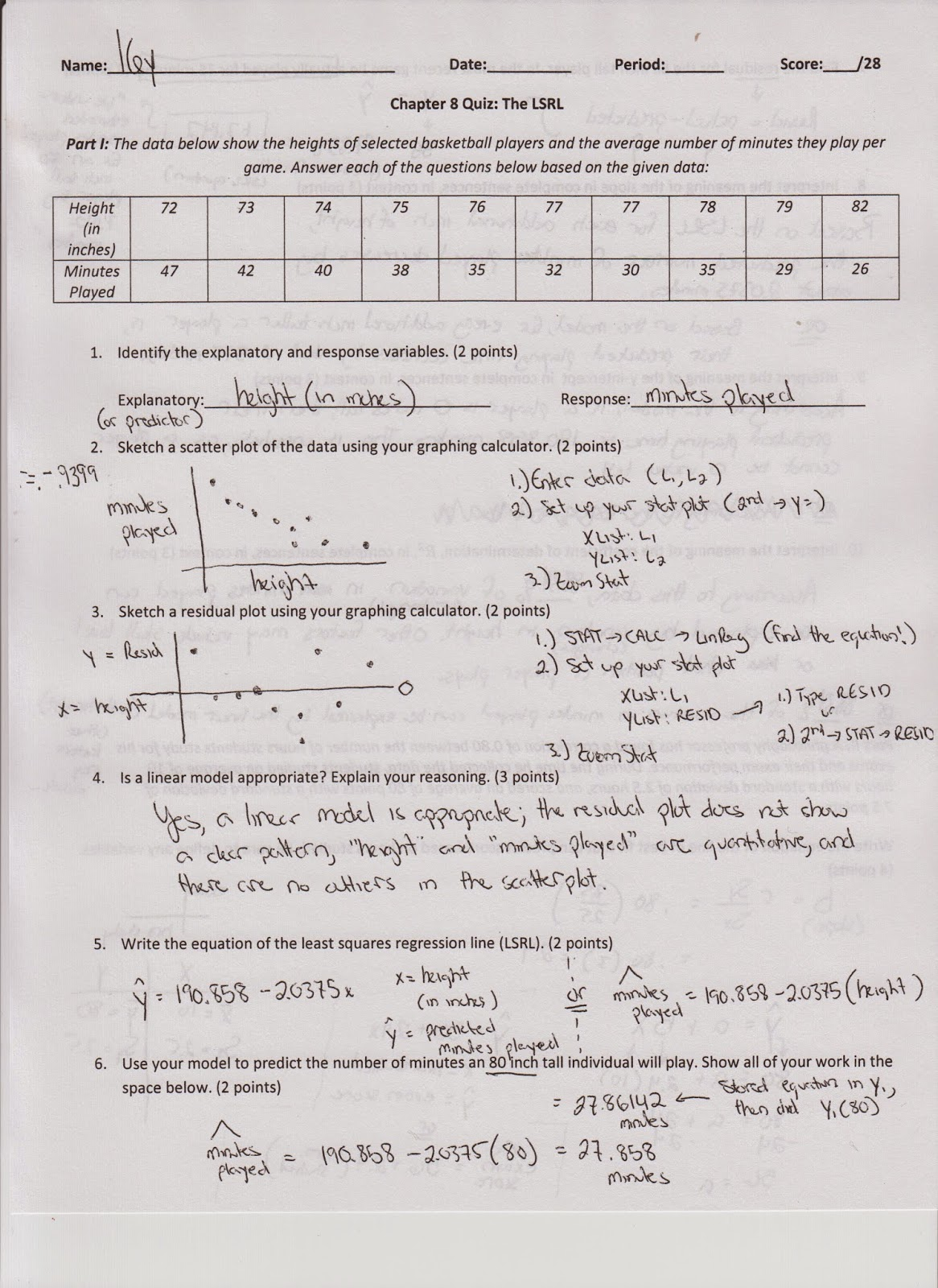 Ap Statistics Correlation Regression Prediction Worksheets