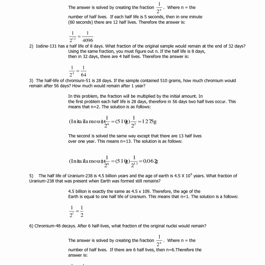 Half Life Worksheets Answers