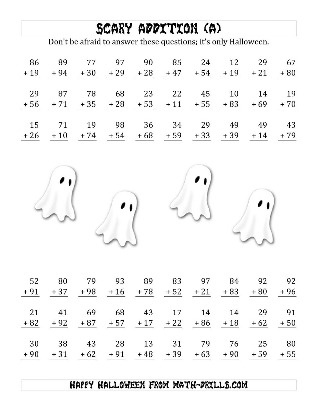 Free Halloween Worksheets For Middle School