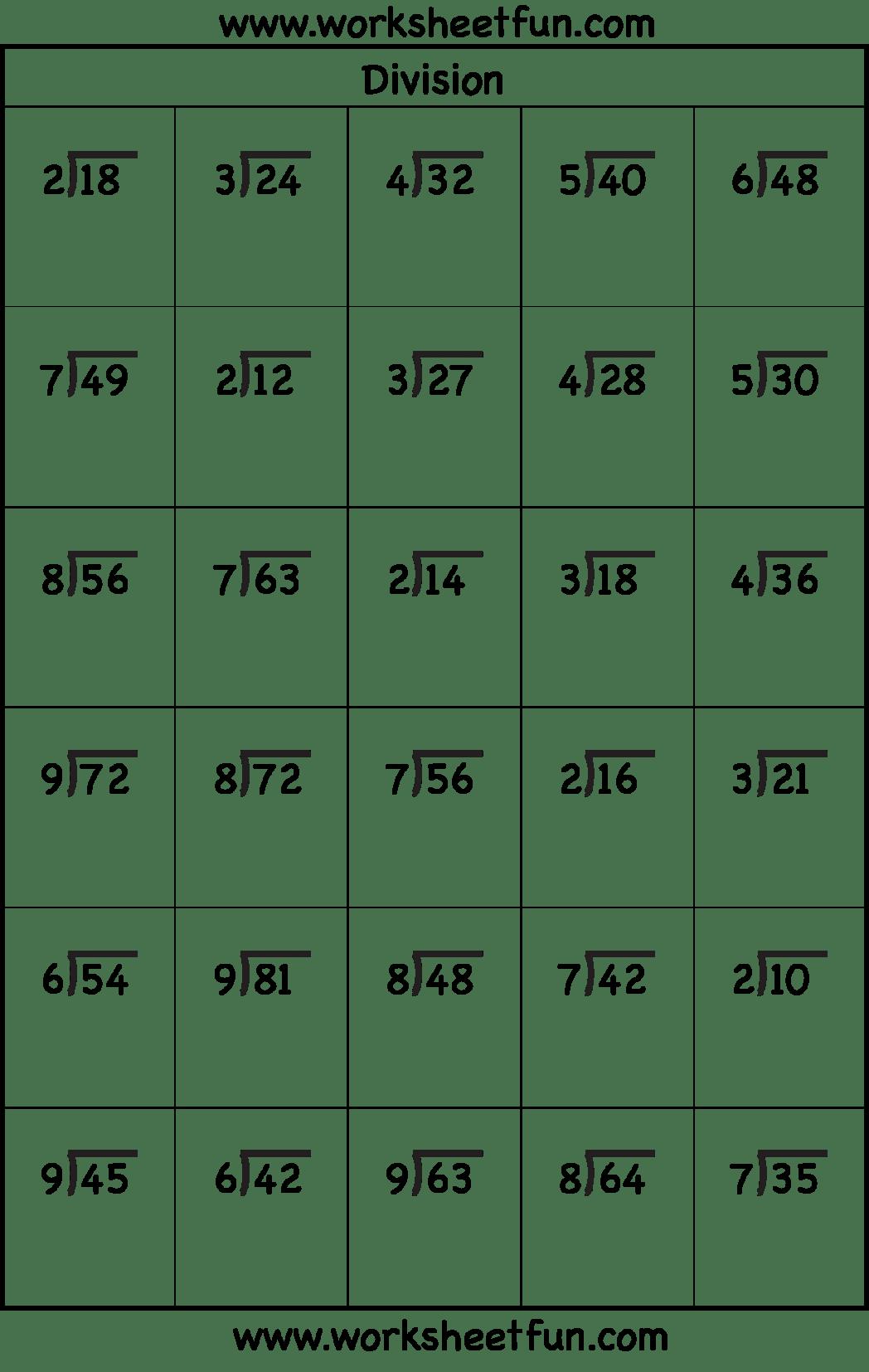 Short Division Worksheets Grade 4