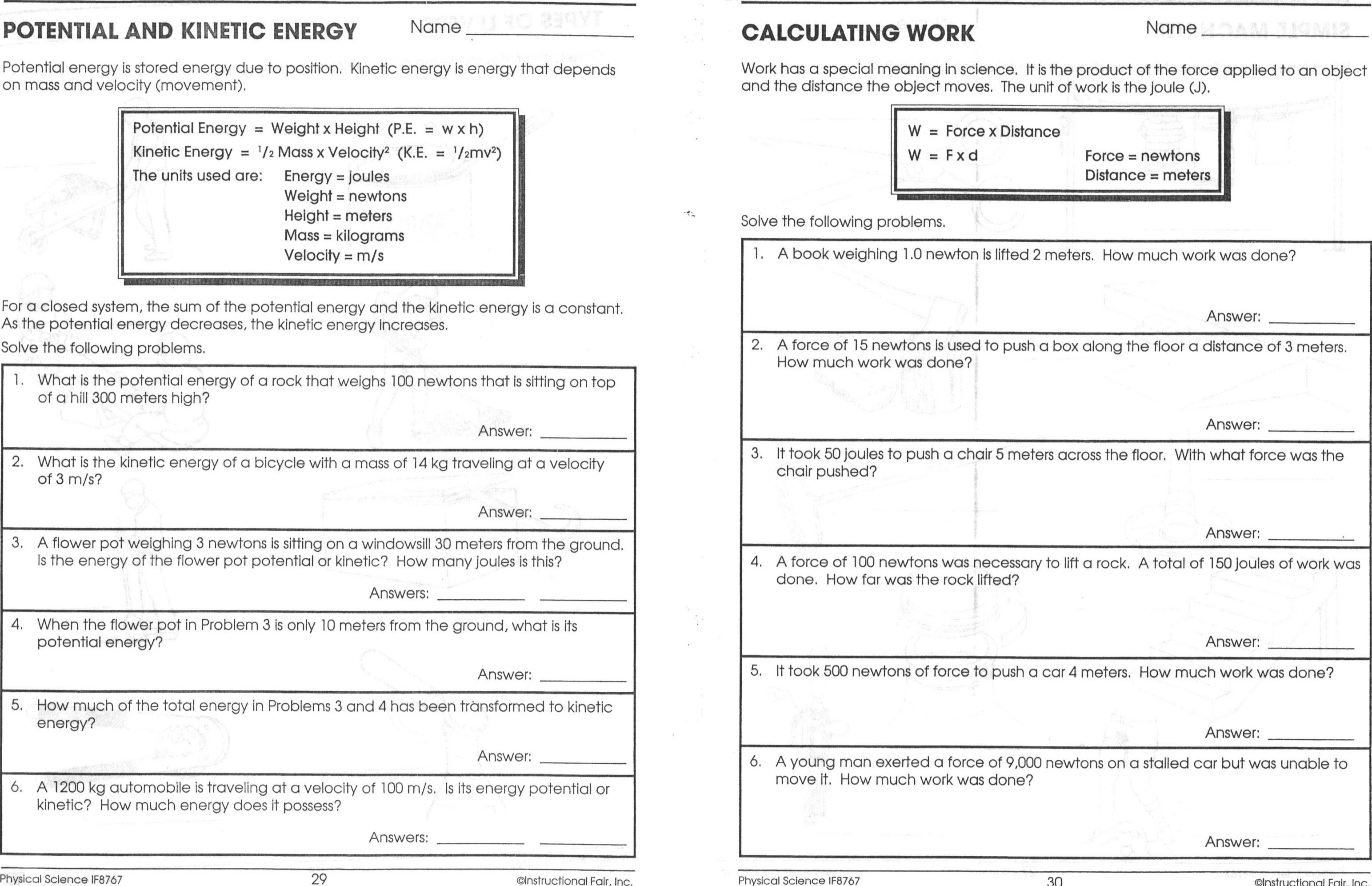 Potential And Kinetic Energy Worksheets