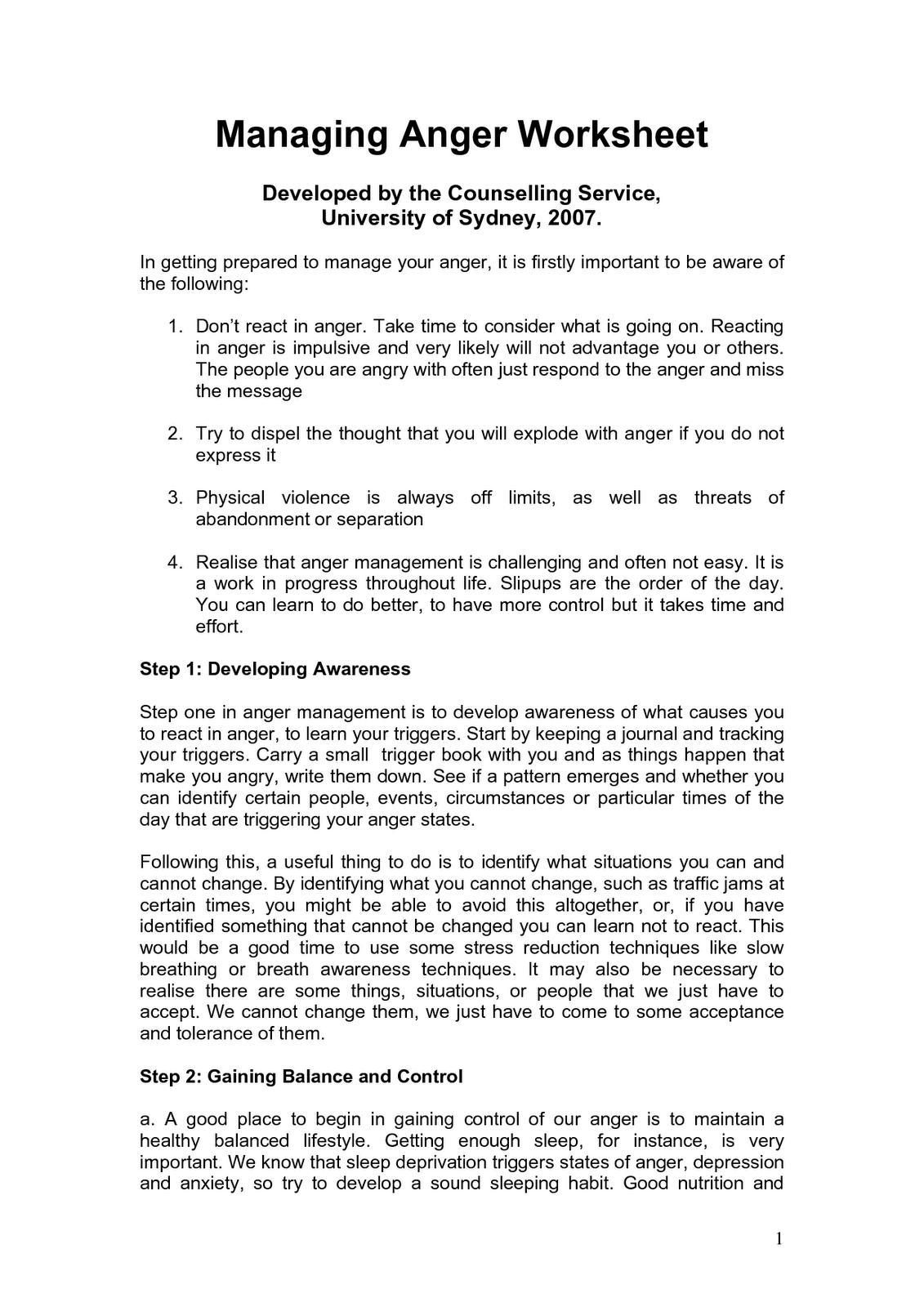 Worksheets On Anger Management For Adults