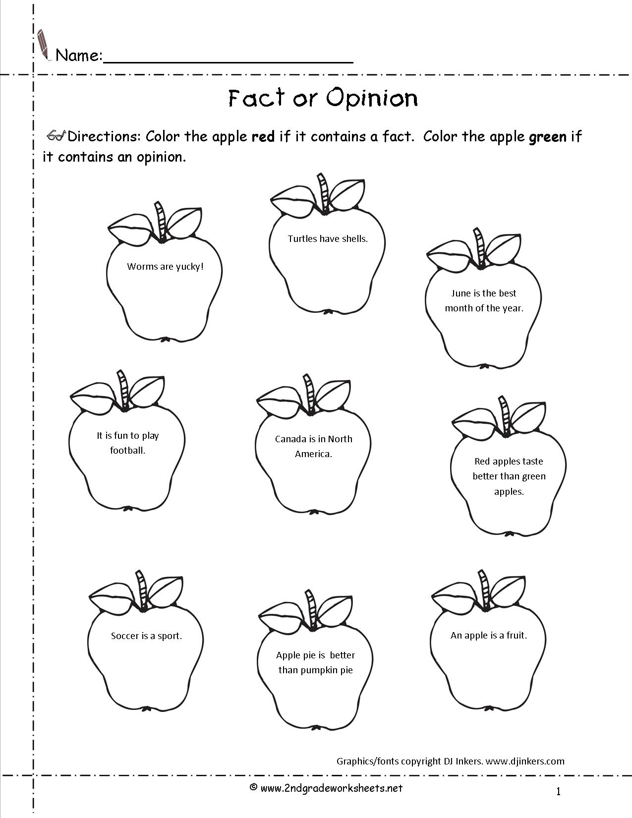 Fact Or Opinion Worksheets 2nd Grade