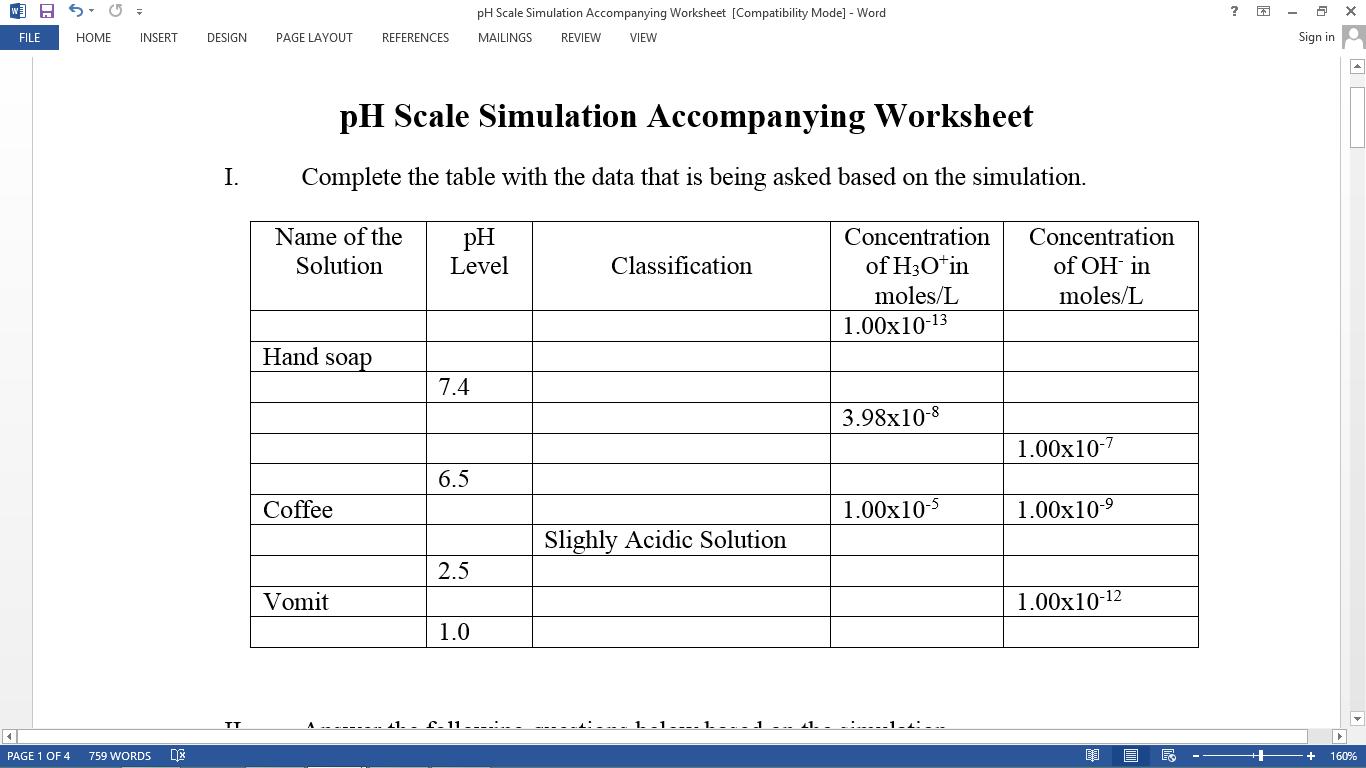 Ph Worksheet Biology Worksheets Samples