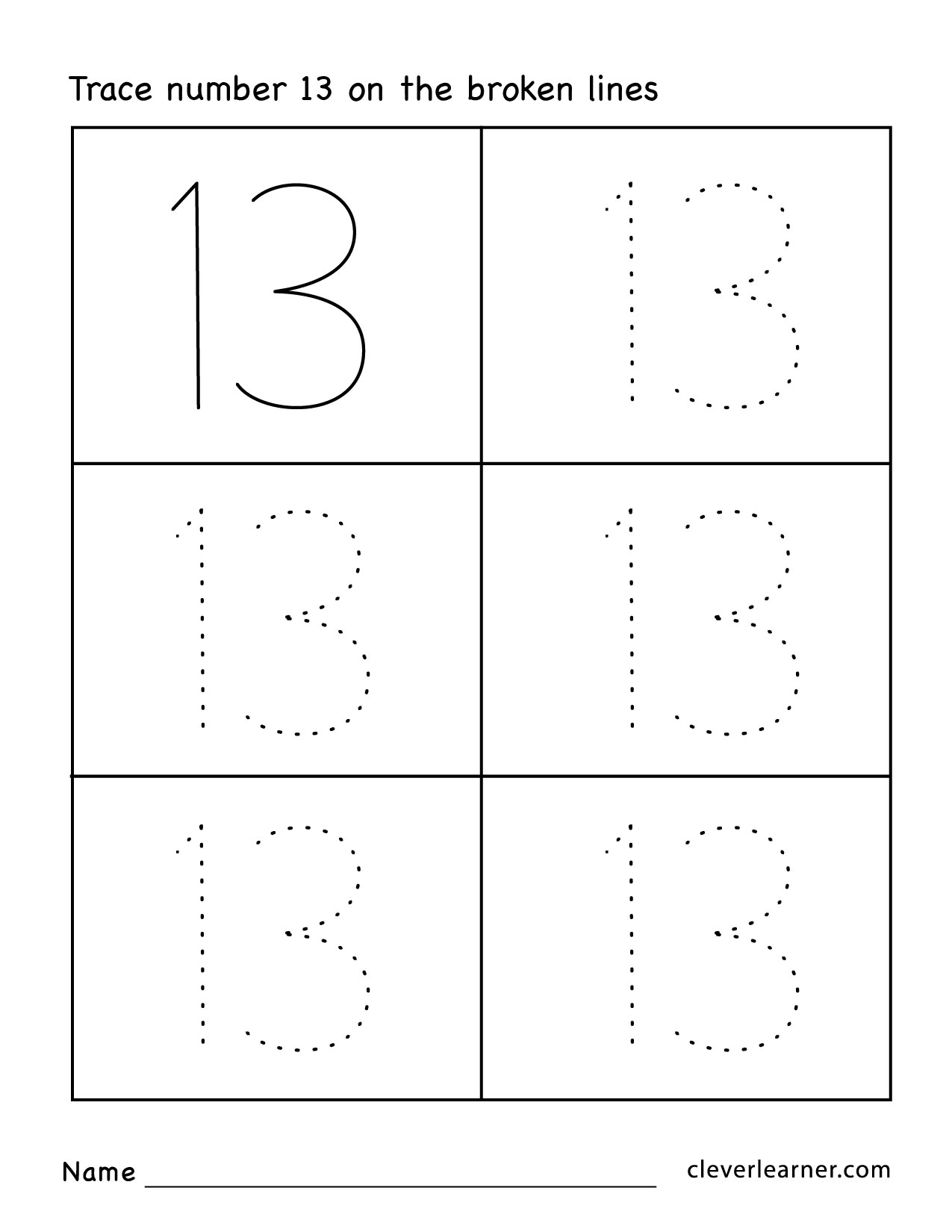Number 13 Worksheets For Pre K