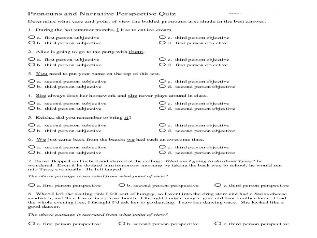 Pronouns Worksheets 6th Grade