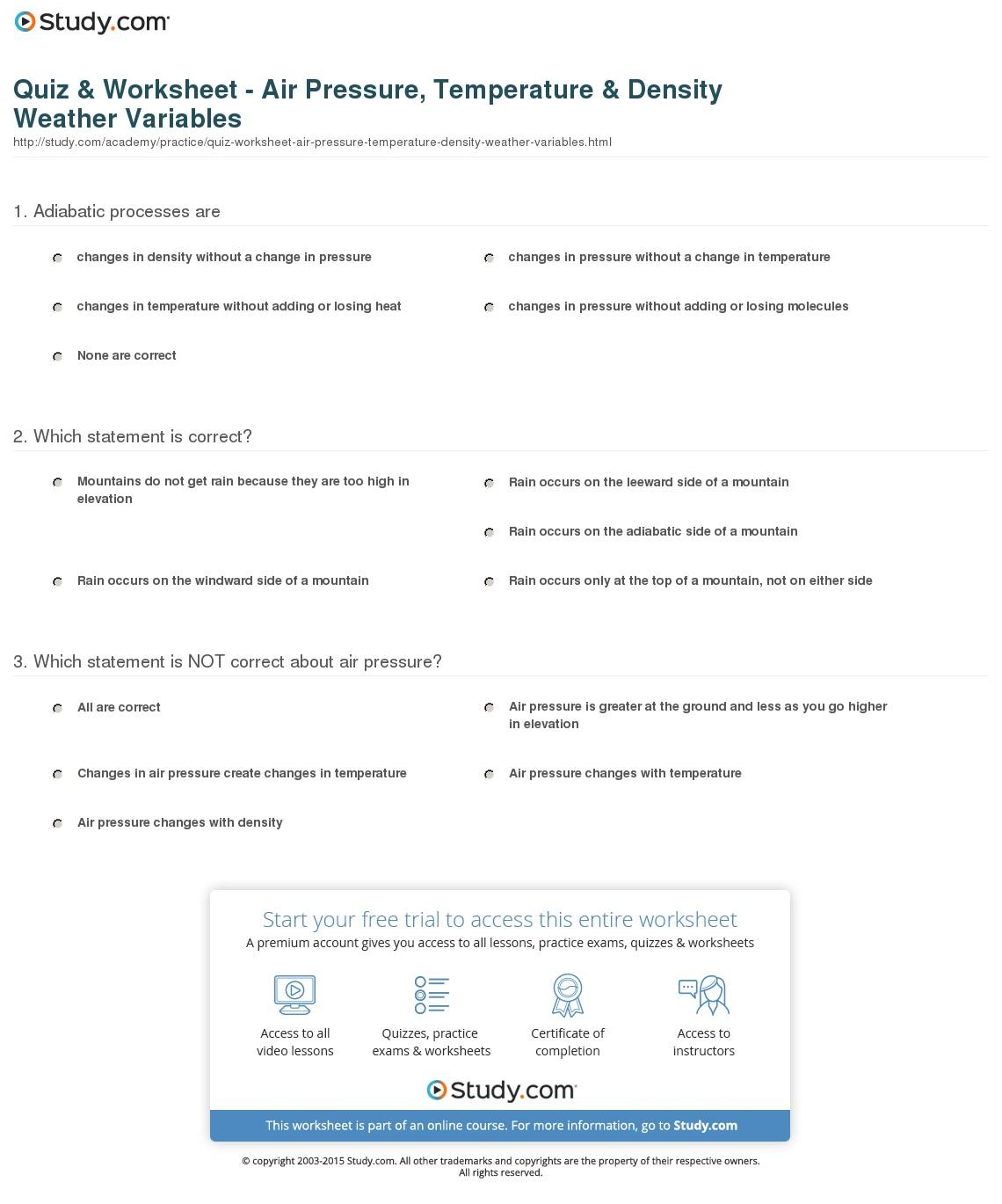 Air Pressure Worksheets