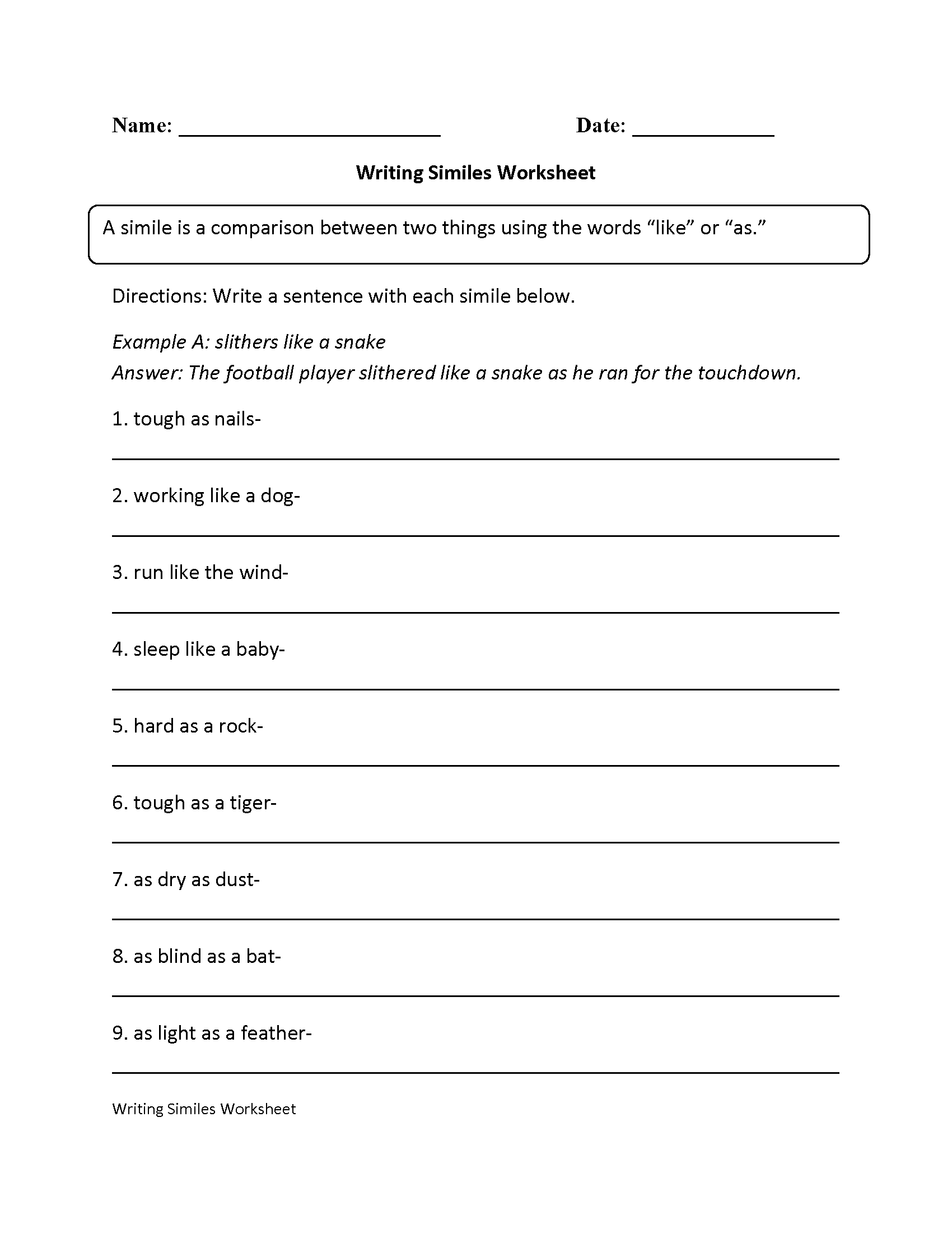 Similes Worksheet 4th Grade The Best Worksheets Image