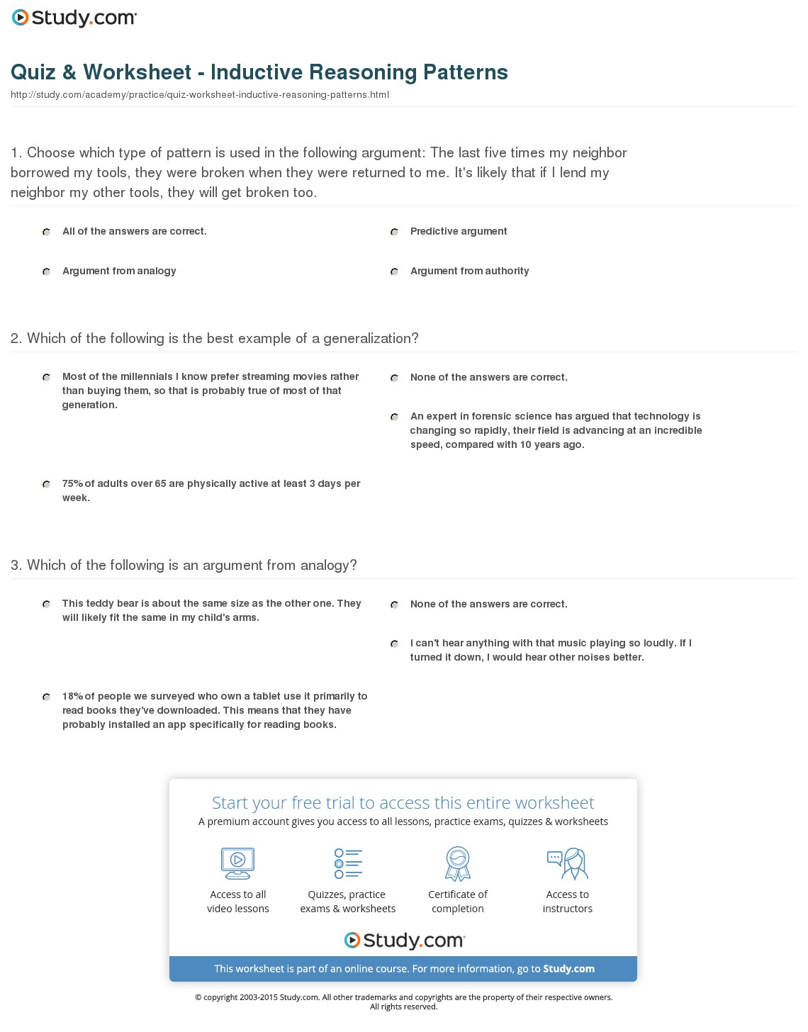 Deductive Reasoning Worksheets For Adults