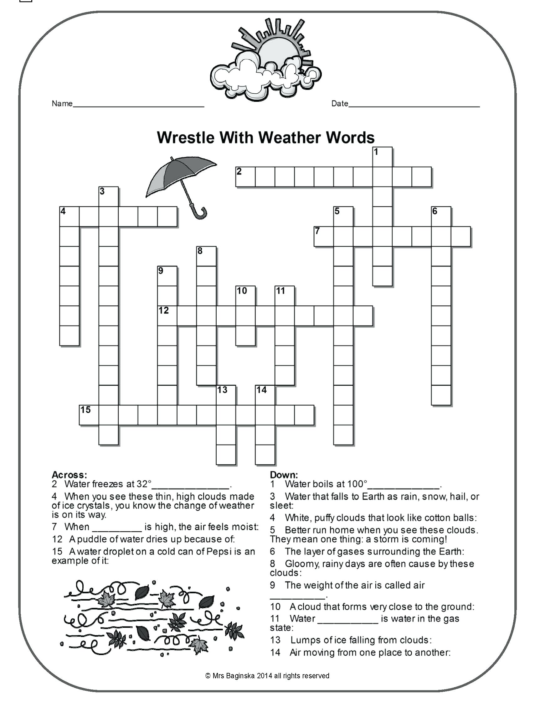 Weather Comprehension Worksheet