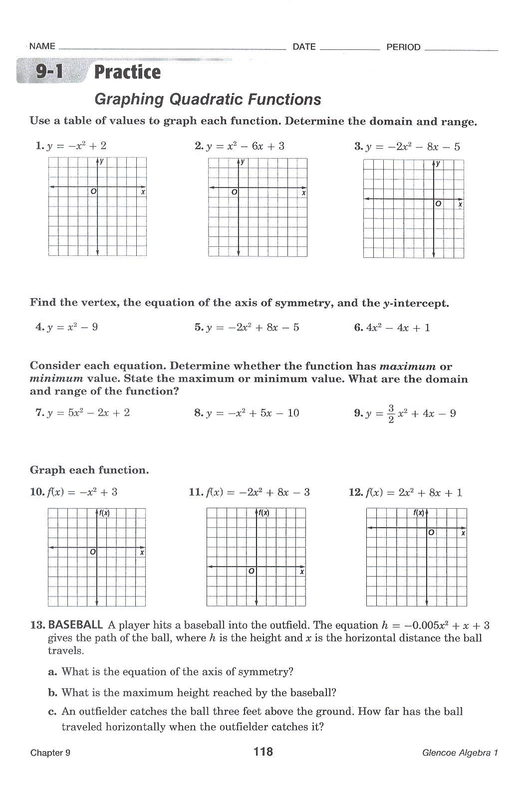 Worksheets Graphing Quadratic Equations Worksheet