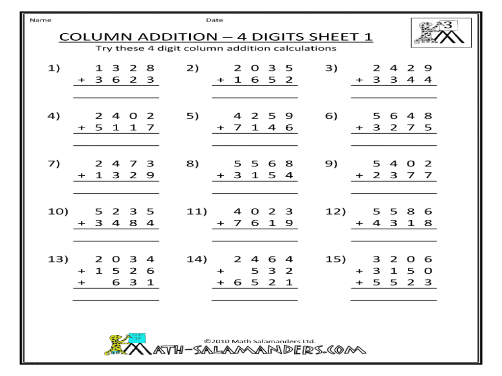 4 Digit Subtraction With Regrouping Worksheets 4th Grade
