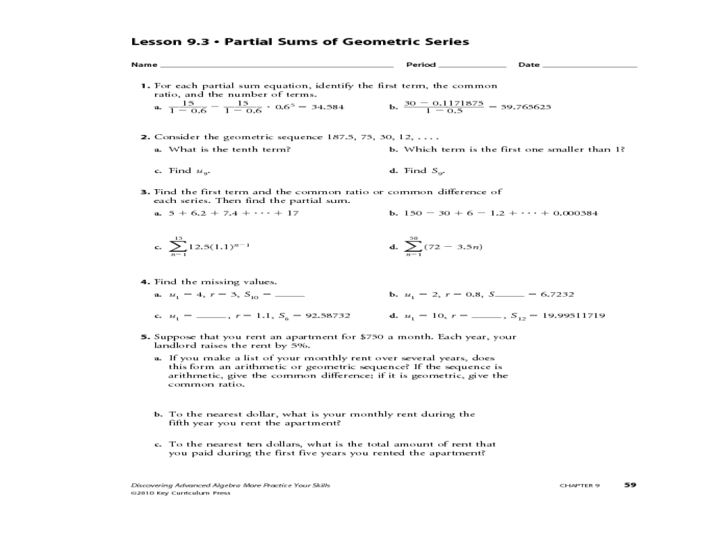 Arithmetic Sequence Worksheet Tables