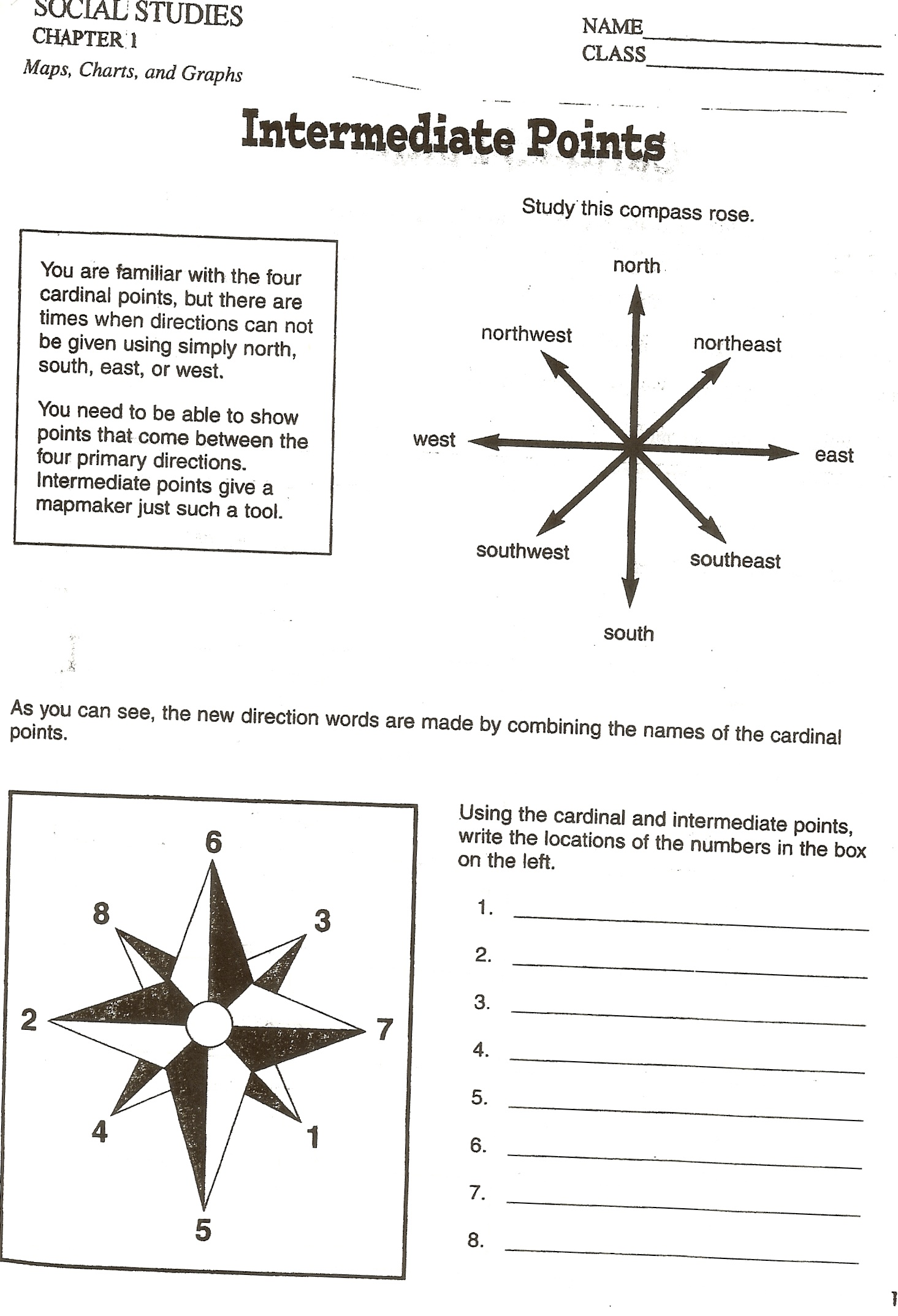Compass Directions Worksheets