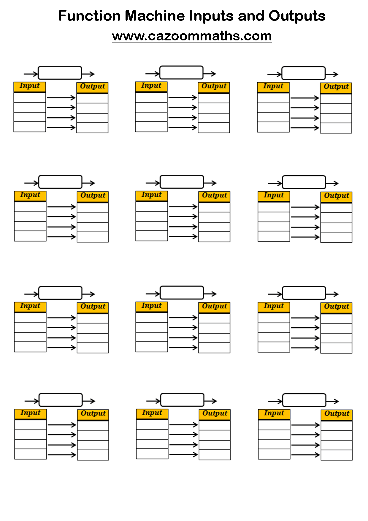 Functions Machines Worksheets