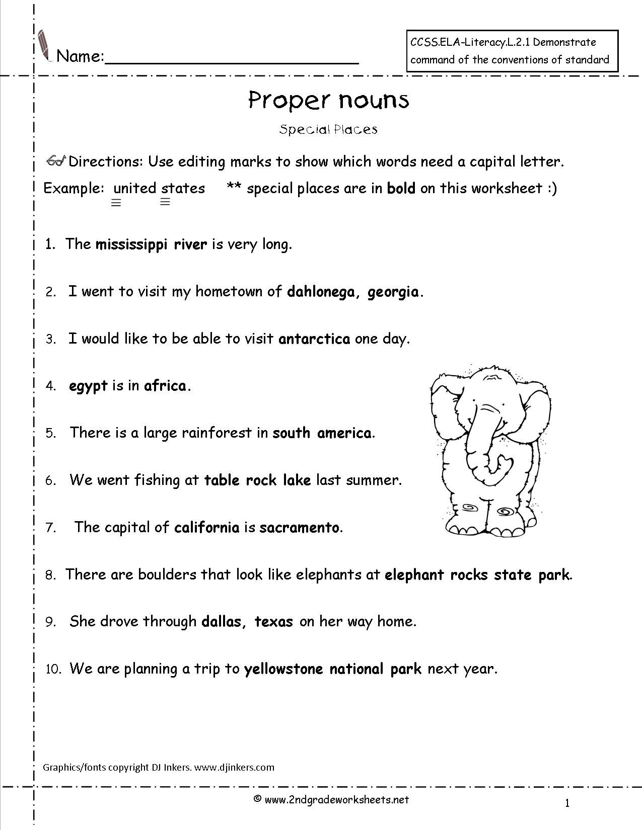 Proper Noun Worksheets For Kids