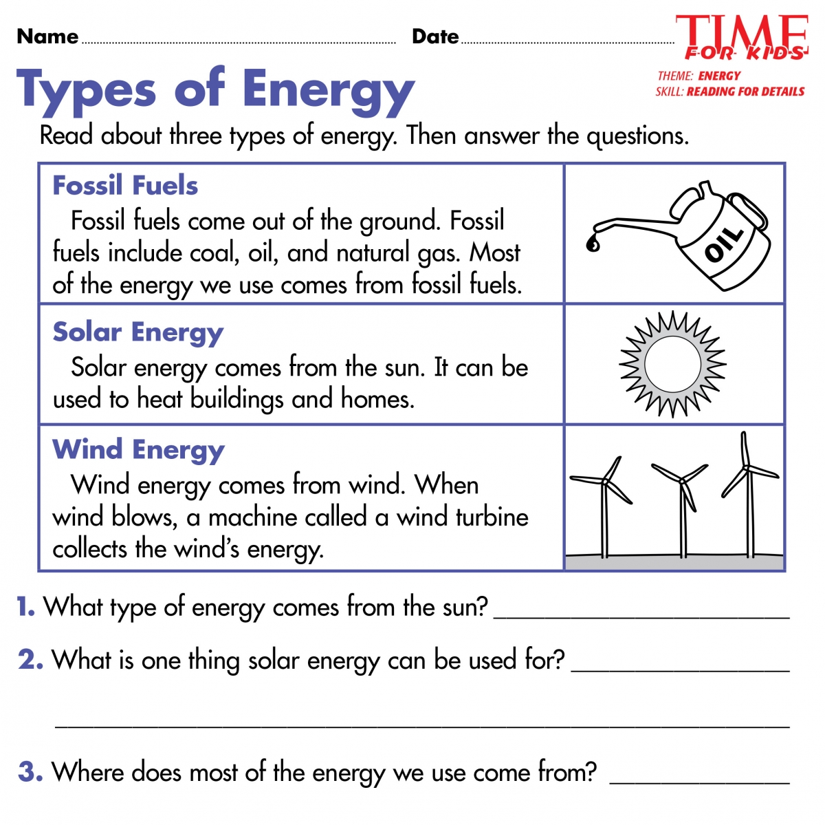 Energy Worksheets For Kids