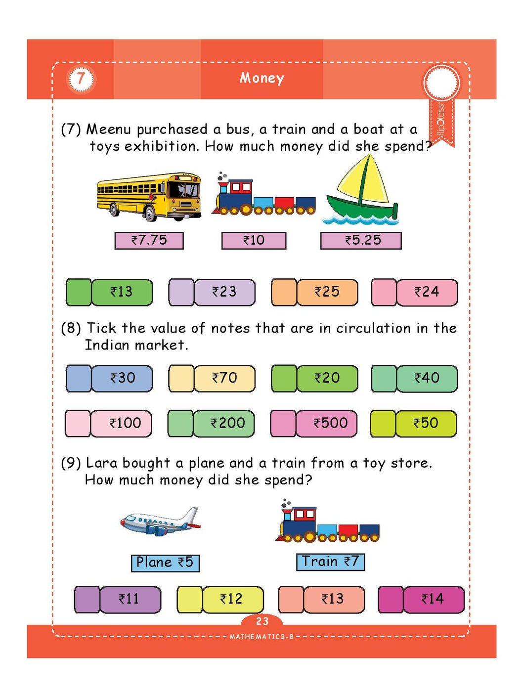 Indian Money Worksheets For Grade 3