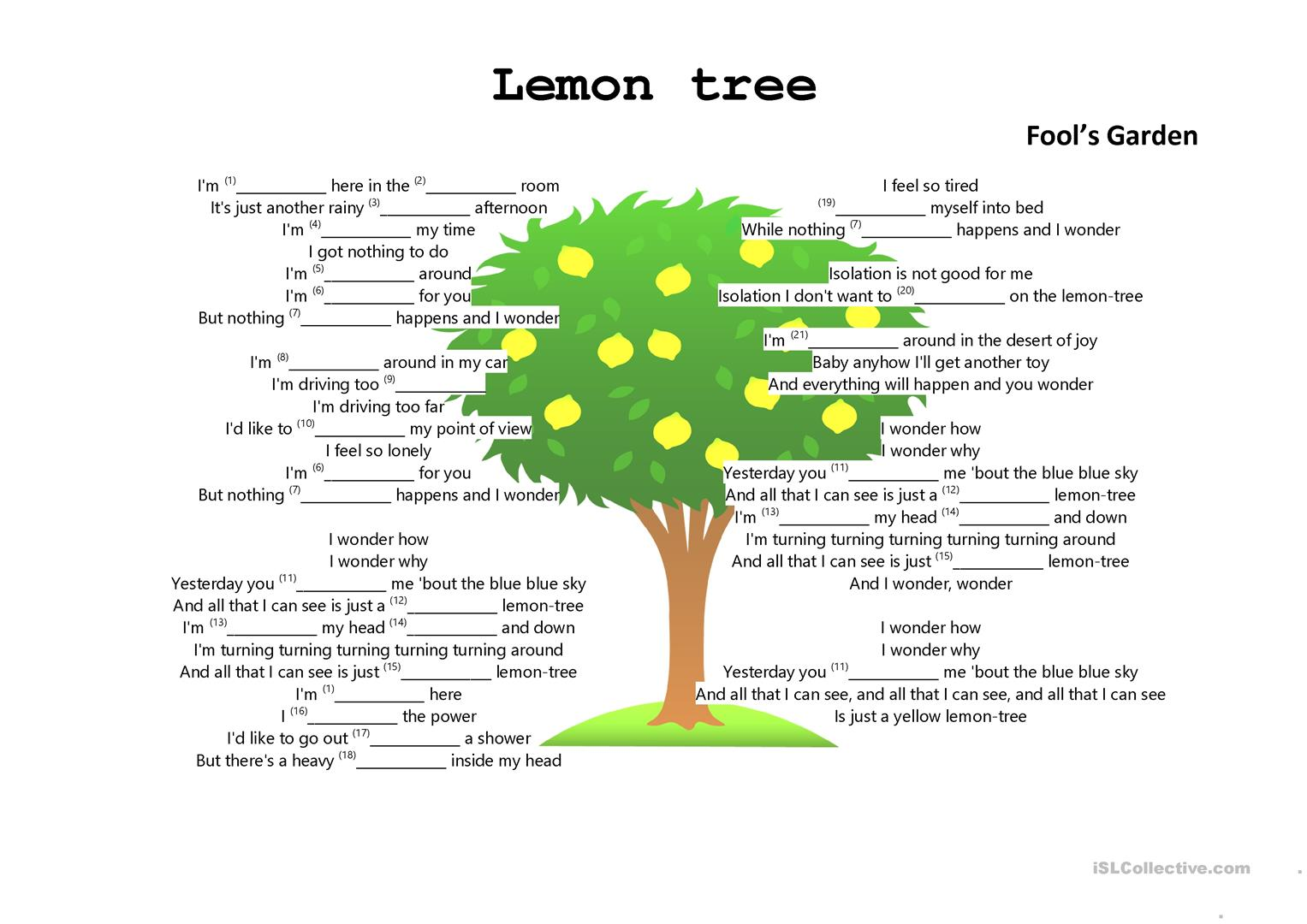 Lemon Tree Worksheets