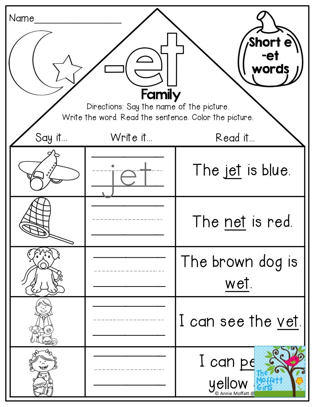 Am Word Family Worksheets