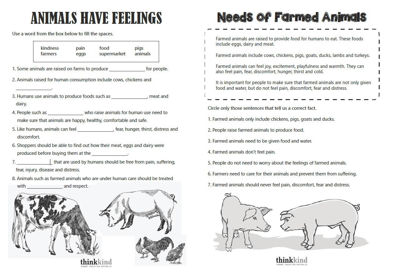 Uses Of Animals Worksheets