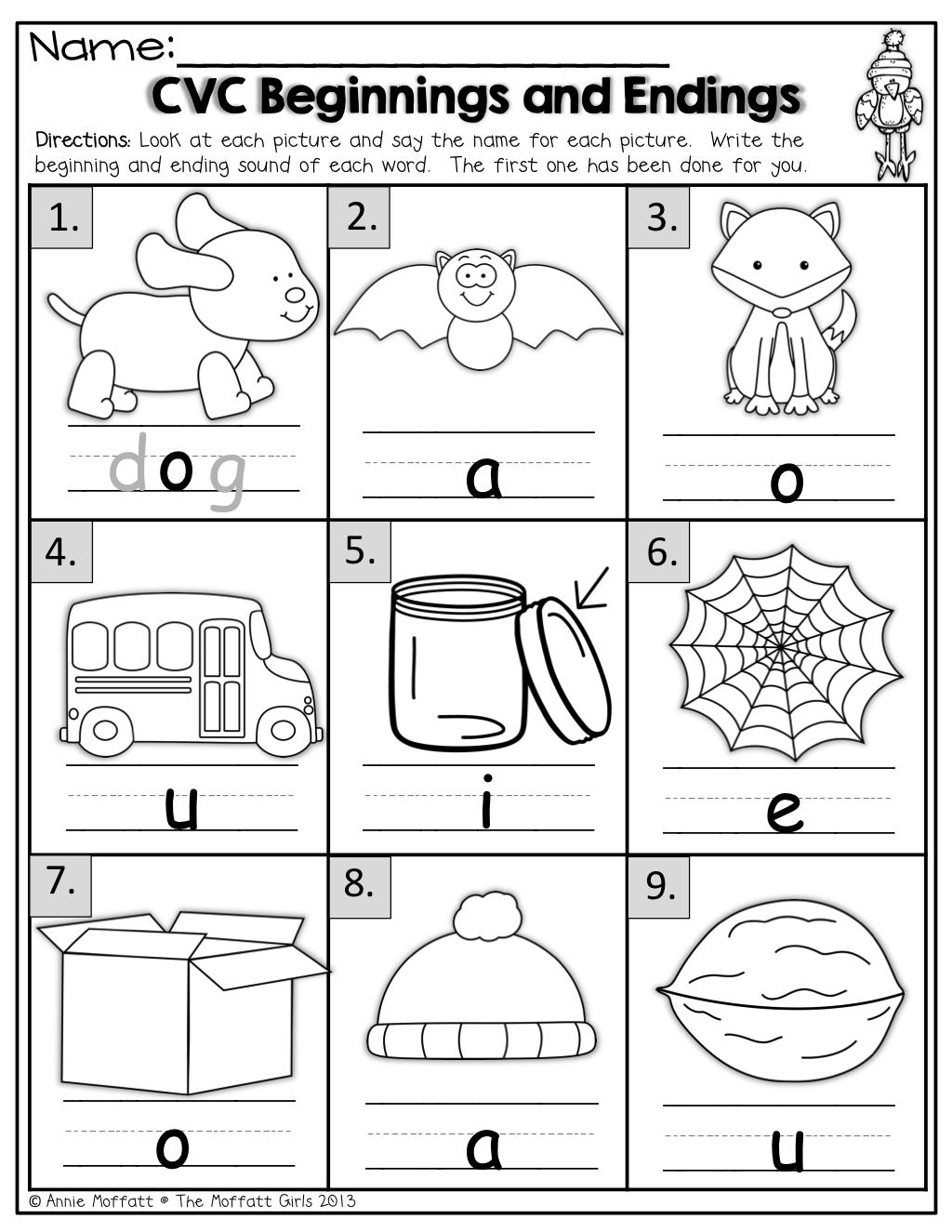 Ending Sound Worksheets For Kindergarten