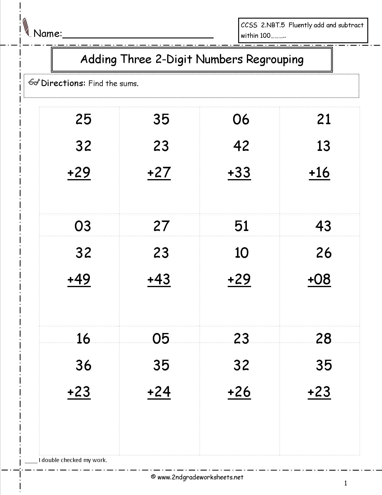 Two Digit Addition With Regrouping Worksheets 2nd Grade