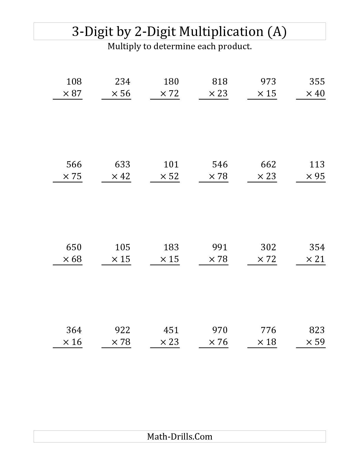 3 Digit By 2 Digit Multiplication Worksheets