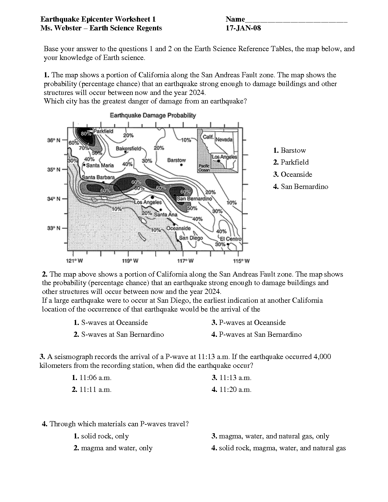 Earthquake Worksheets For Middle School