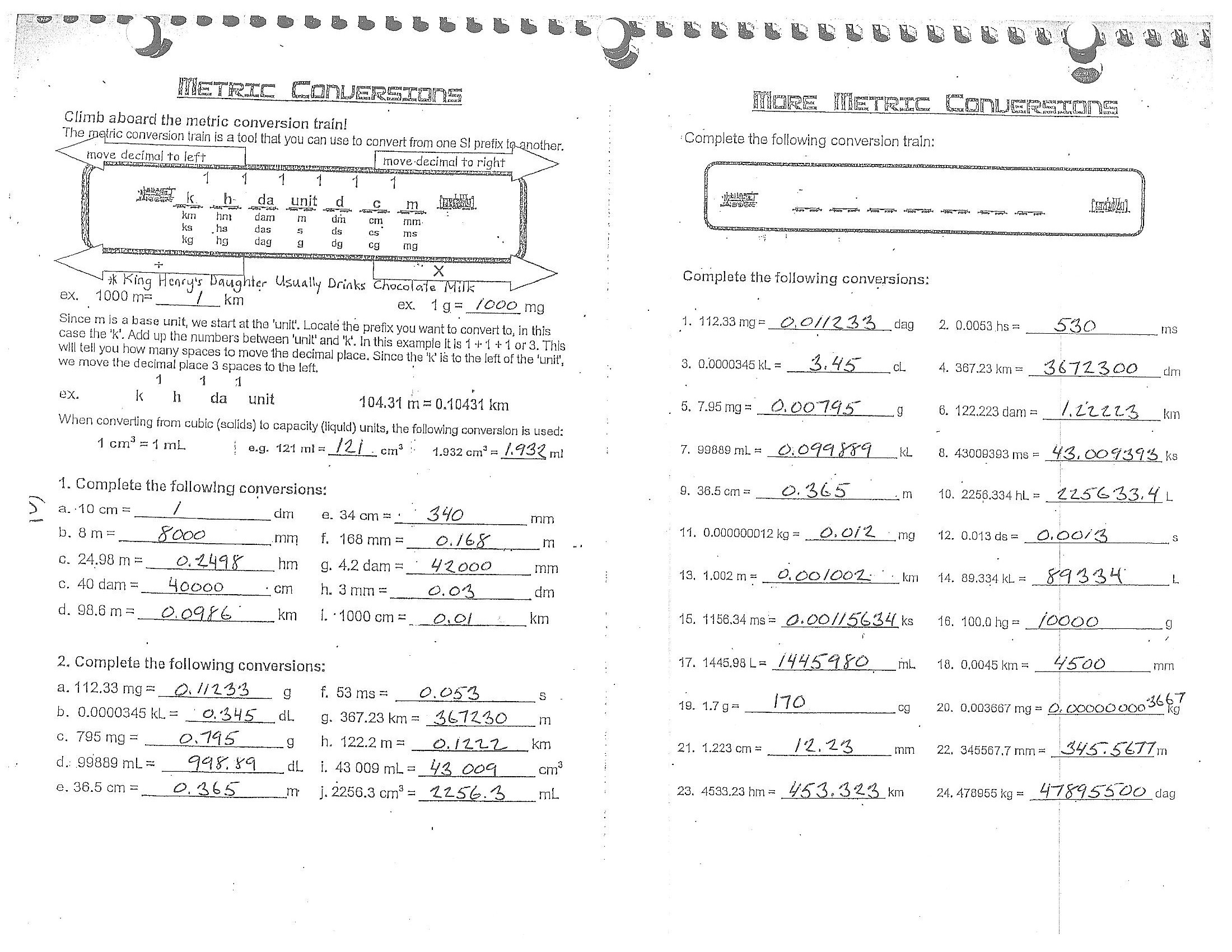 English Metric Conversions Worksheet Worksheets Samples
