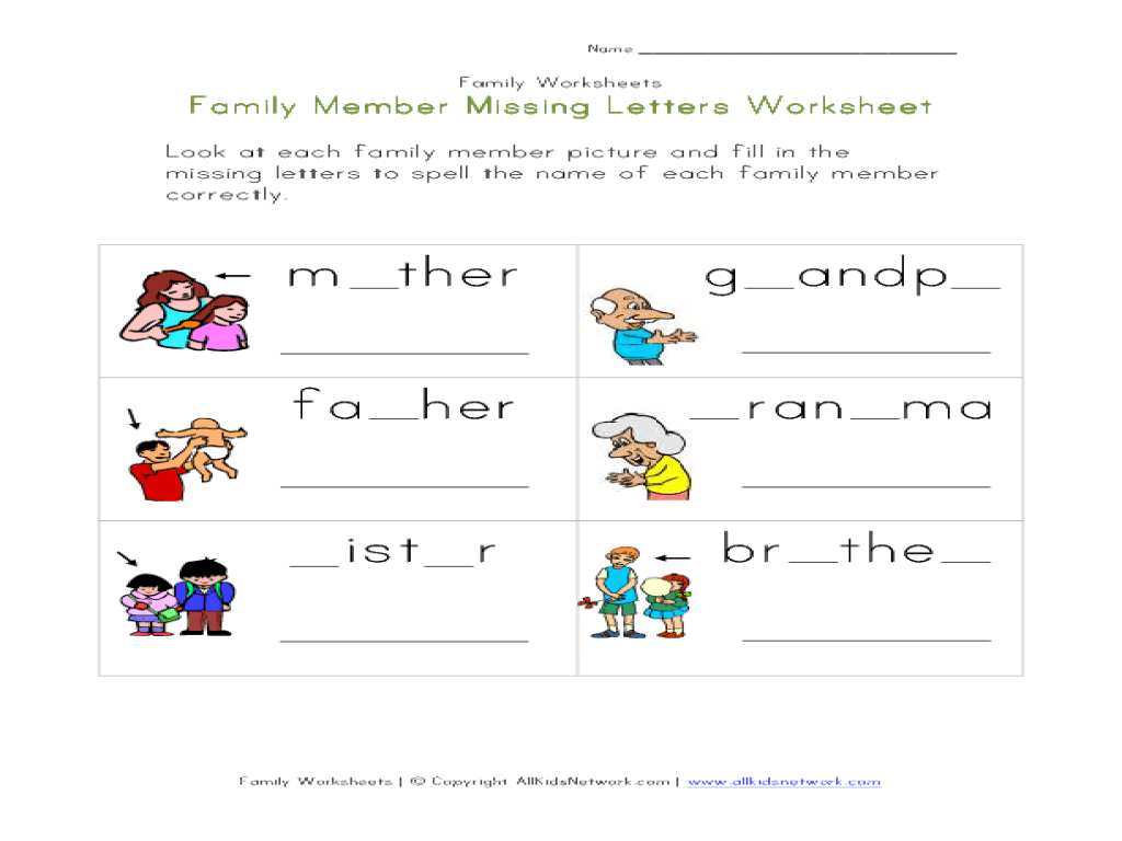 Members Of The Family Worksheets