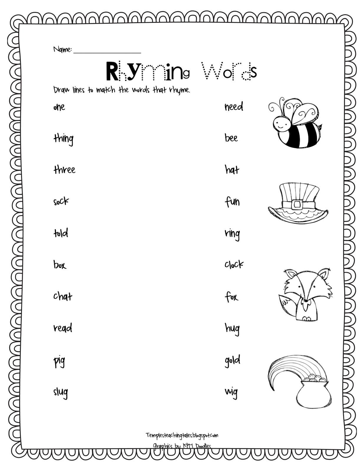 Rhyming Words For Kids Worksheets