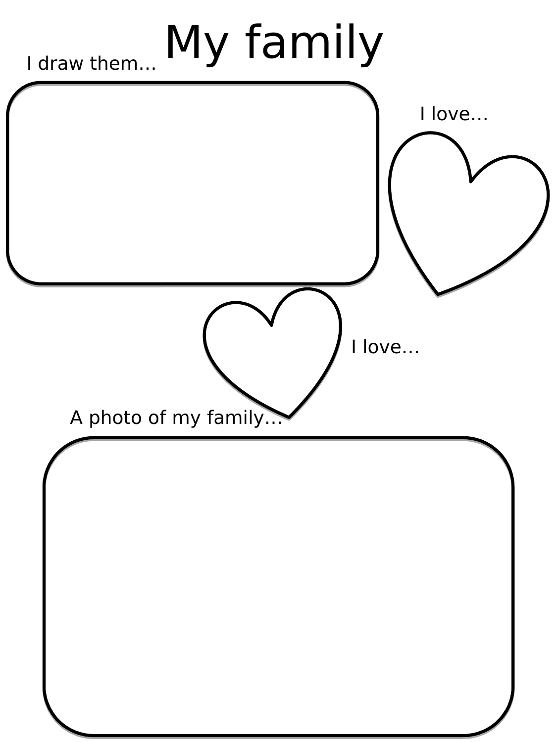 My Family For Kids Worksheets