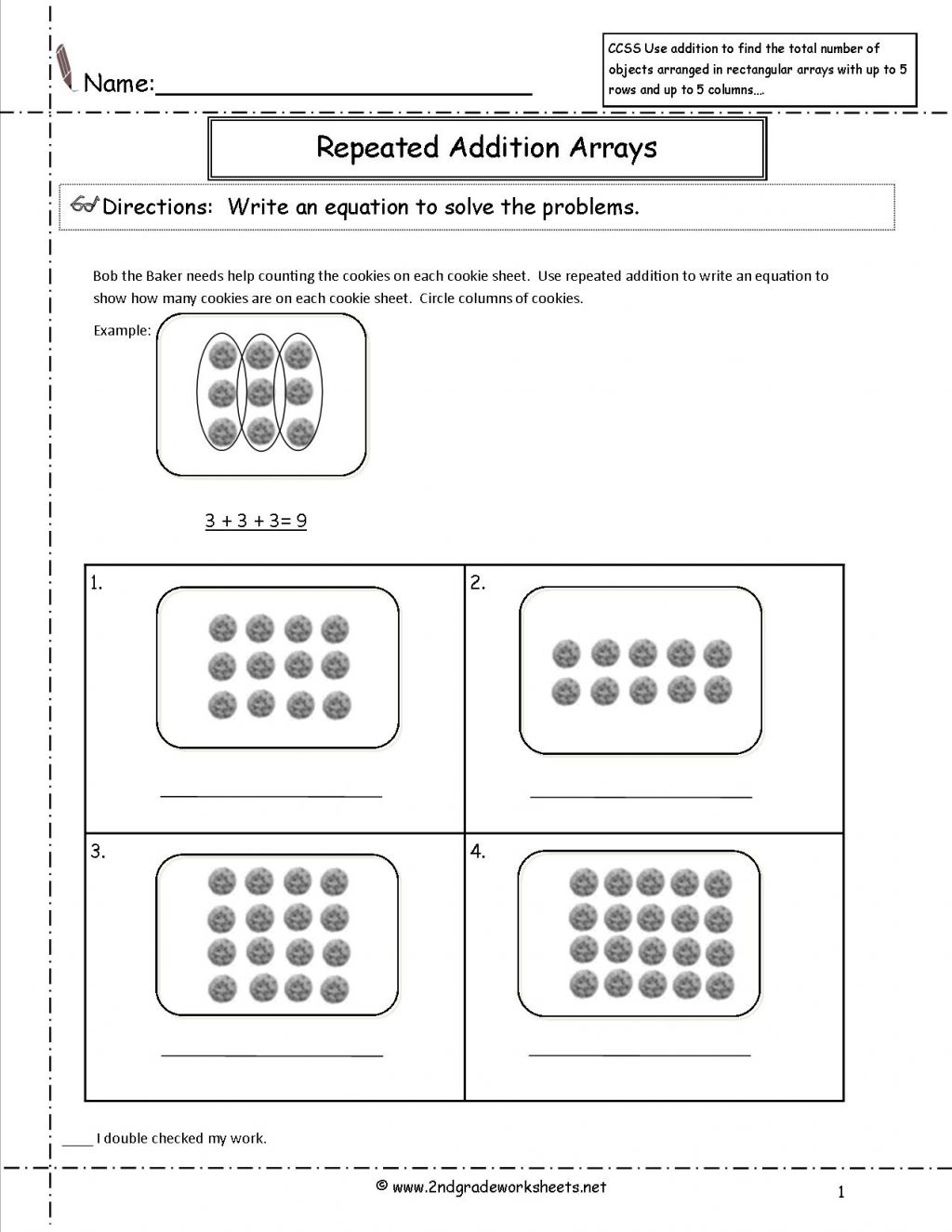 Multiplication Array Worksheets For Second Grade Fourth