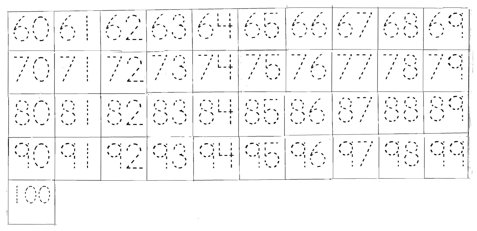 Tracing Numbers 1 50 Worksheets