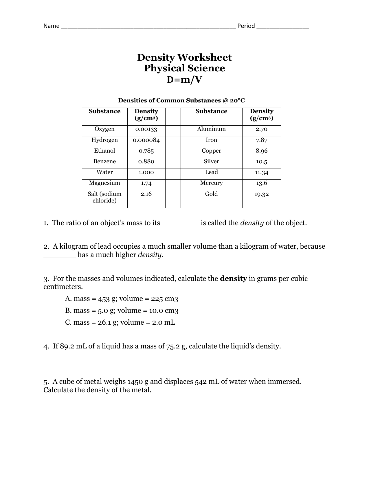 Physical Science Worksheet Answers The Best Worksheets