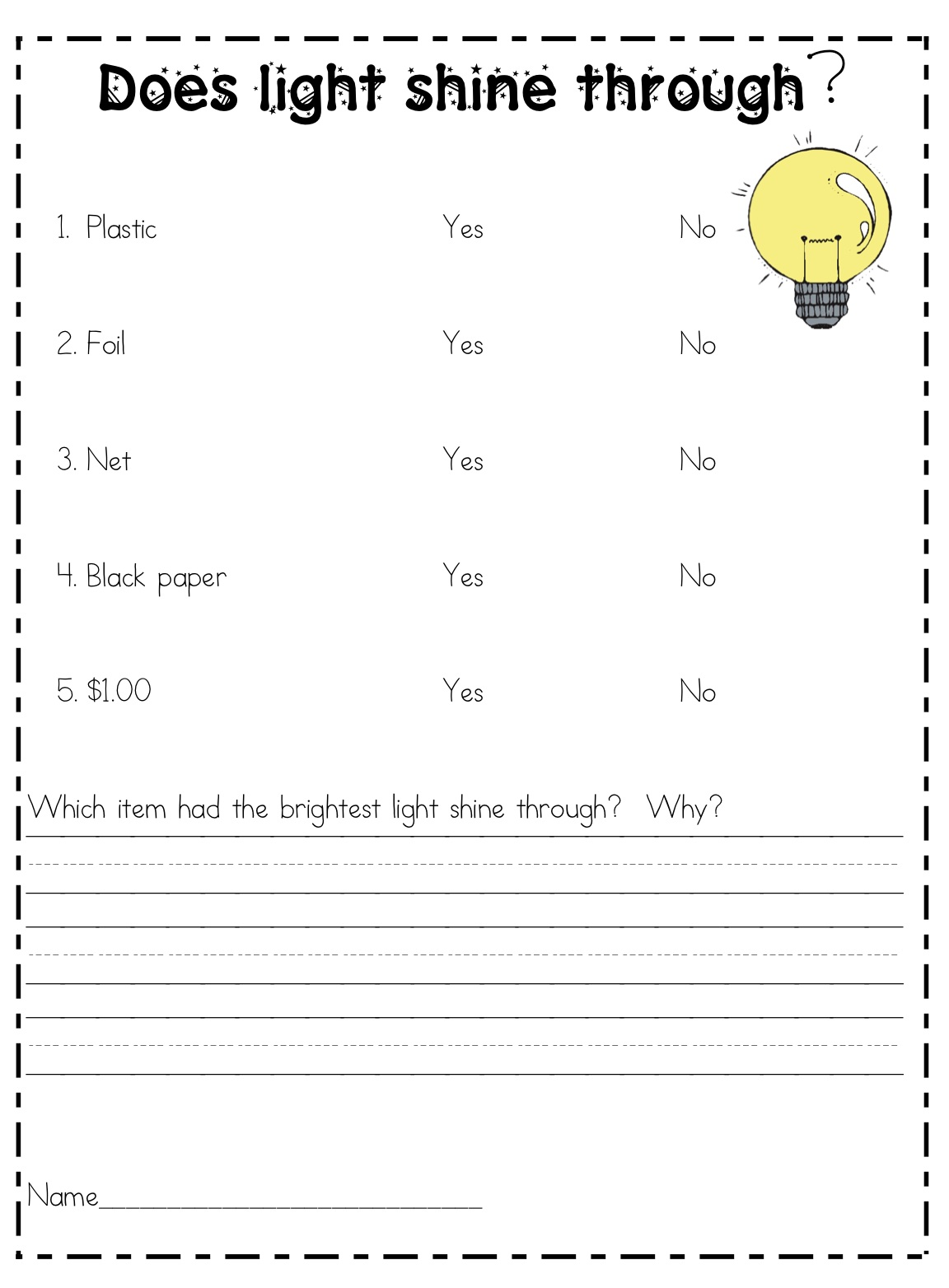 Properties Of Light Worksheets