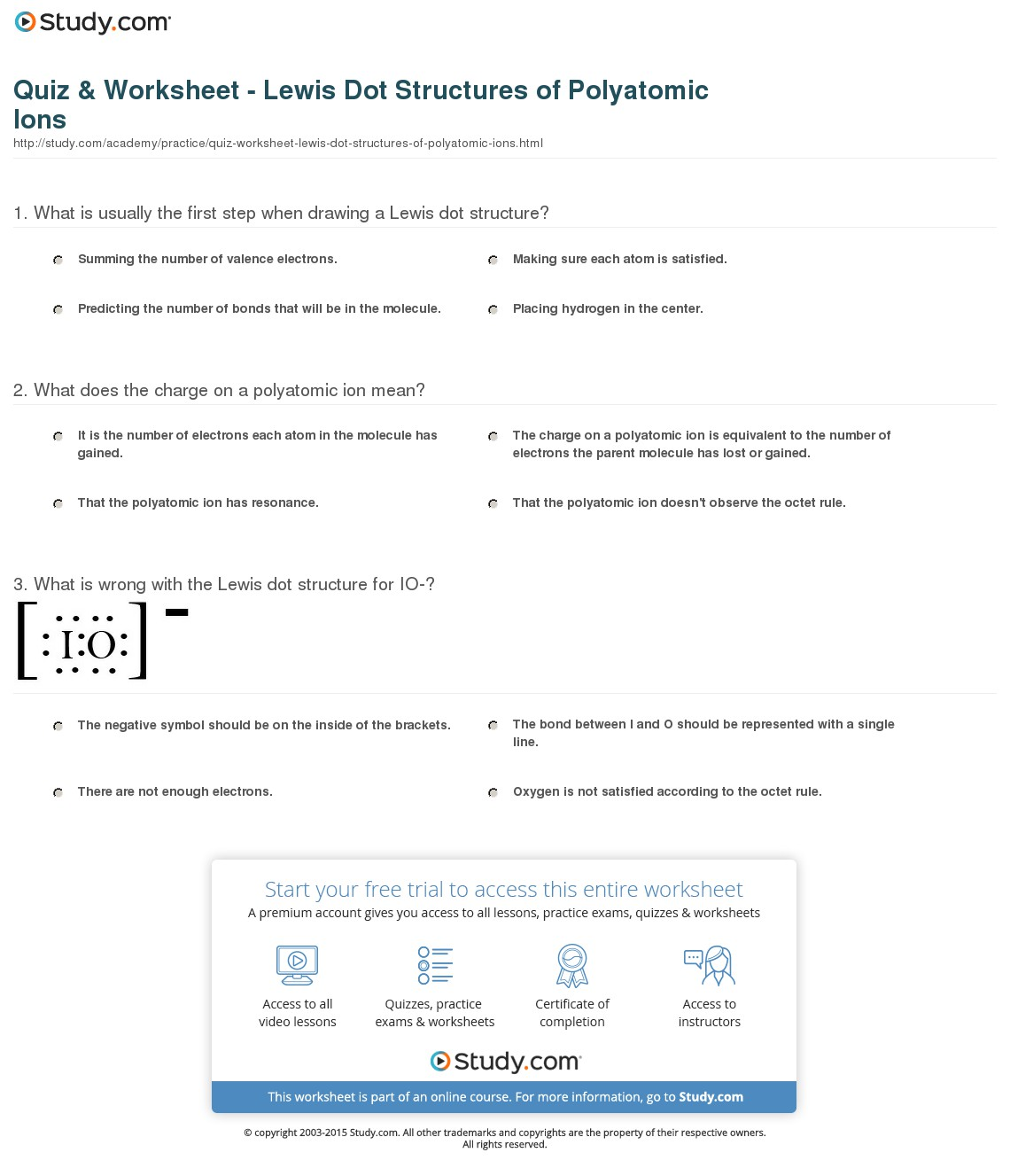 Lewis Dot Structures For Ionic Compounds Worksheets