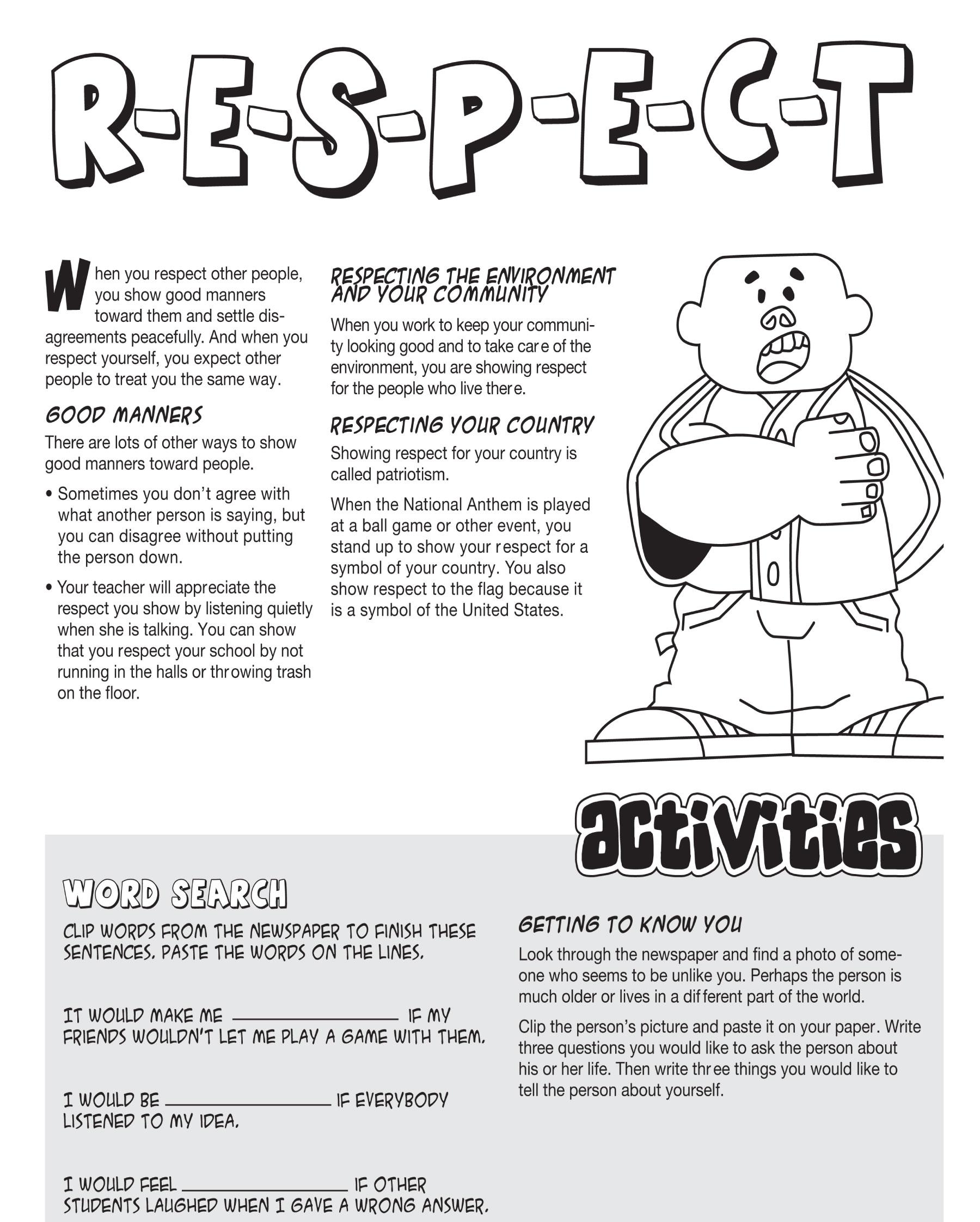 Teaching Kids Respect Worksheets