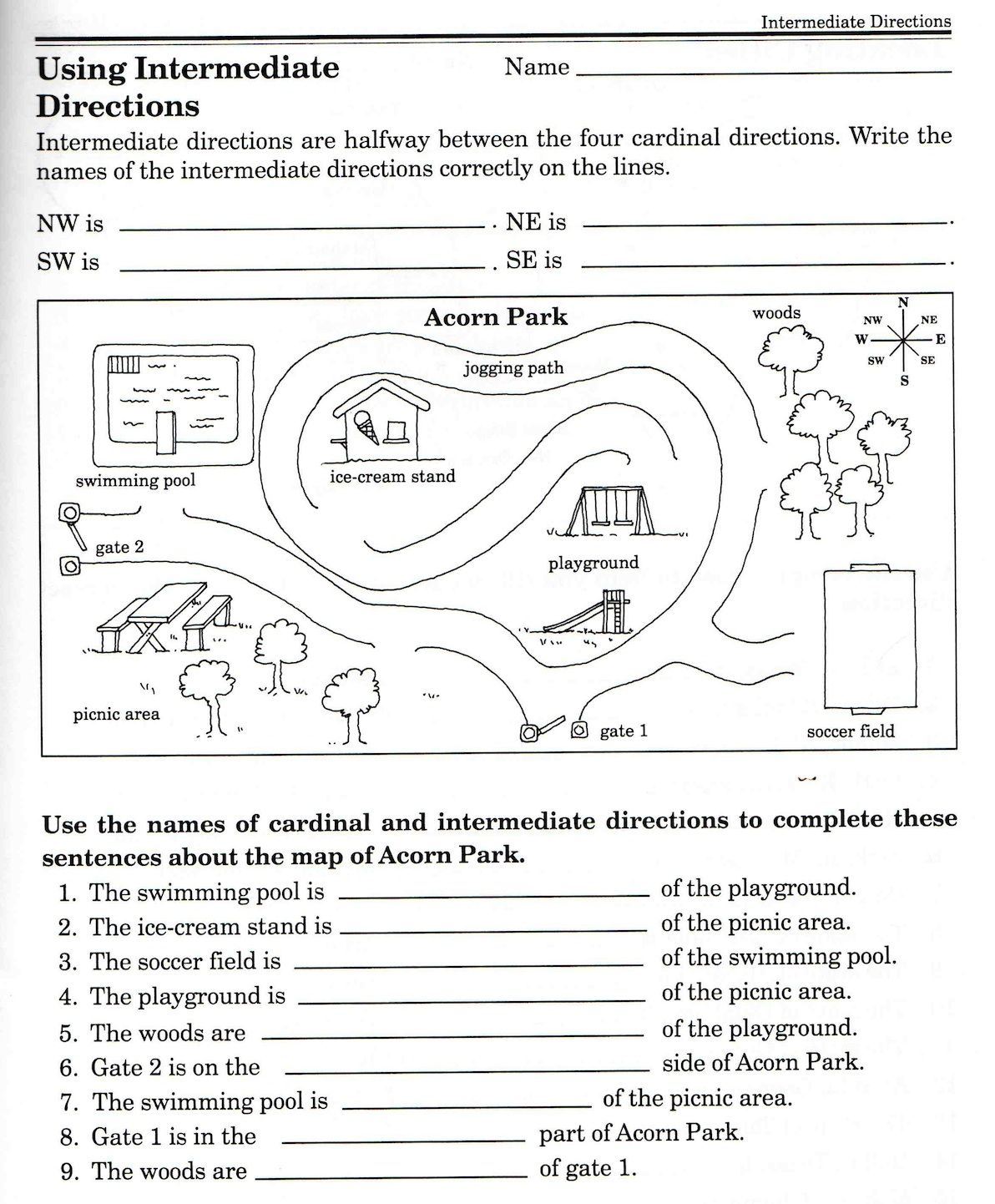 Parts Of A Compass Worksheets