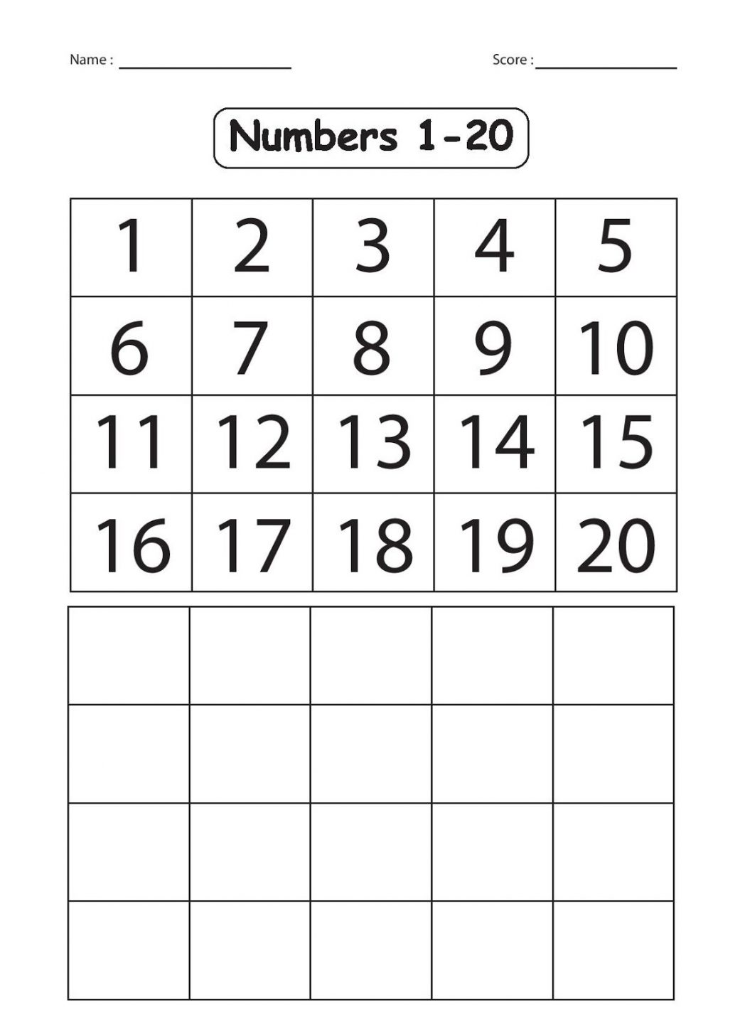 Kindergarten Number Worksheets 1 20