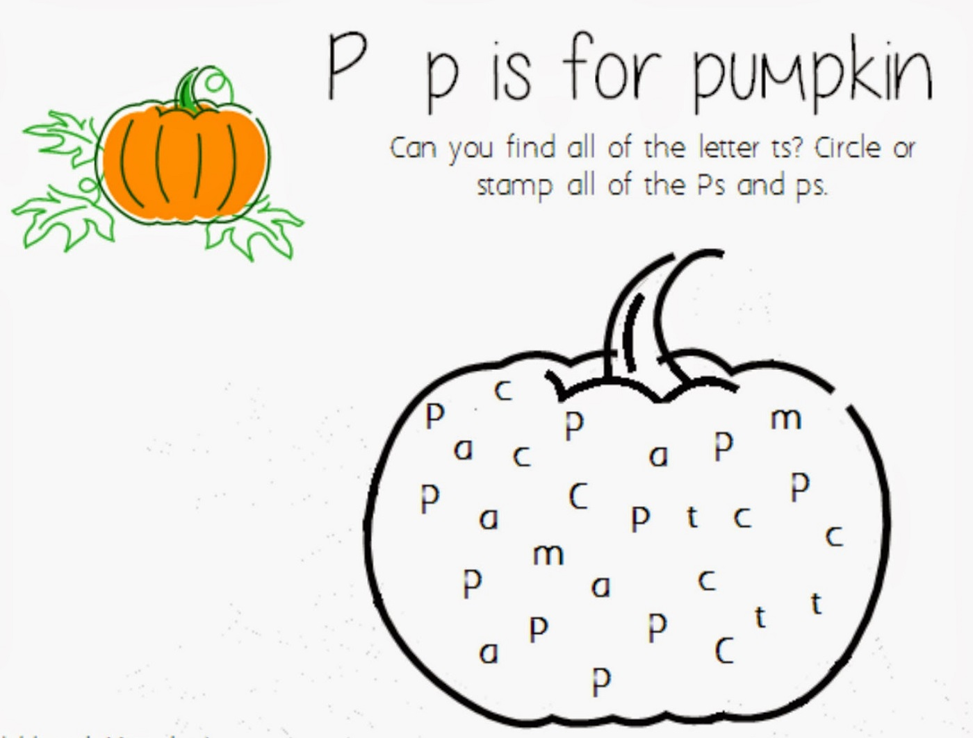 P For Pumpkin Worksheets