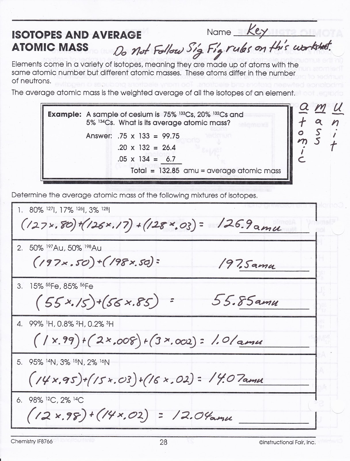 Calculating Average Atomic Mass Worksheets Answer Key