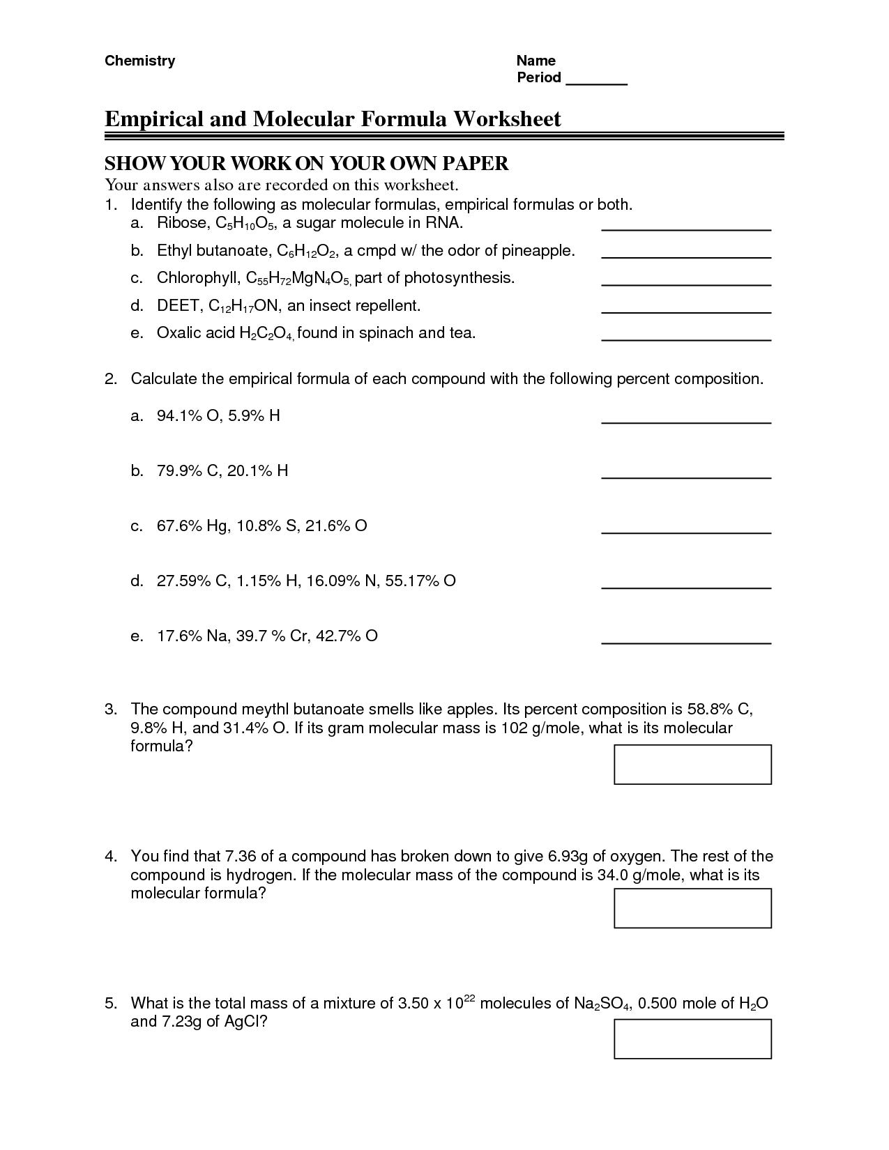 Chemistry Empirical Formula Worksheets