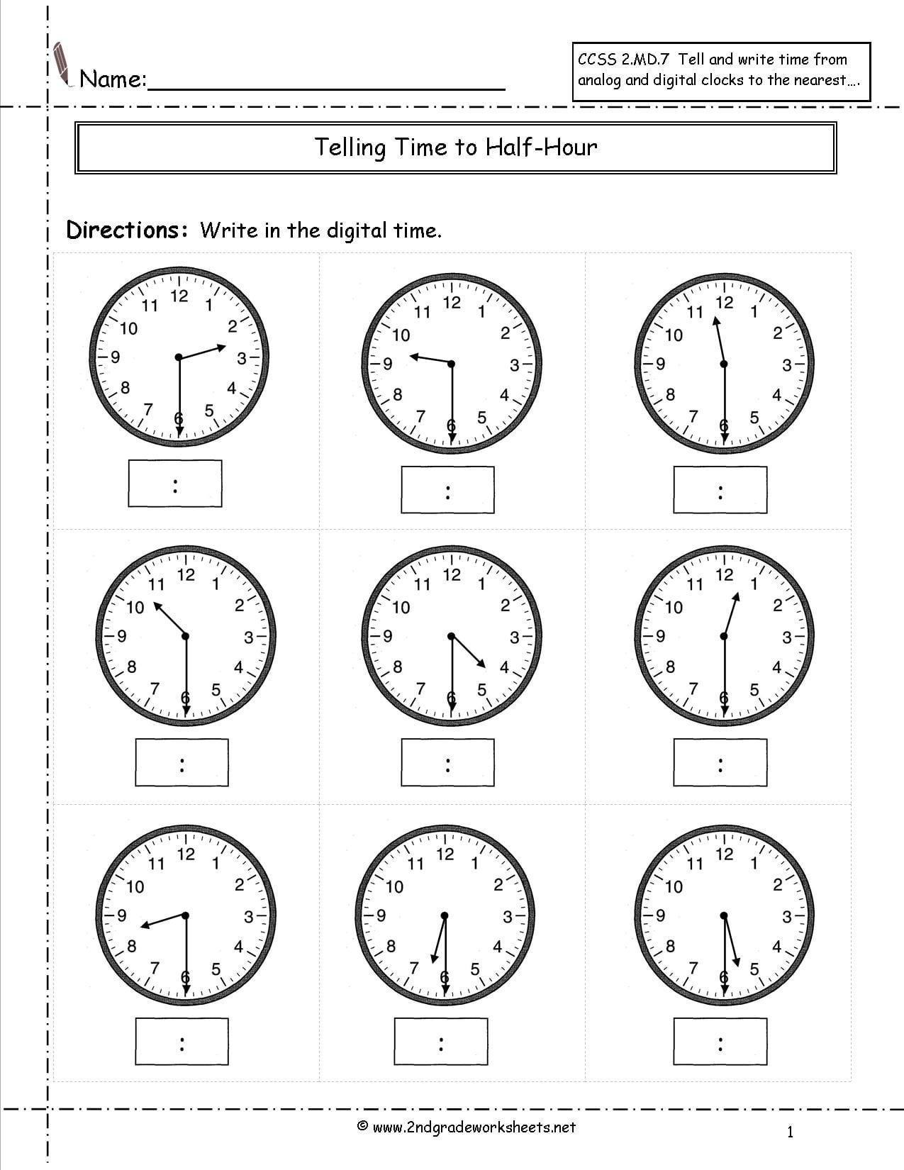 2nd Grade Telling Time Worksheets