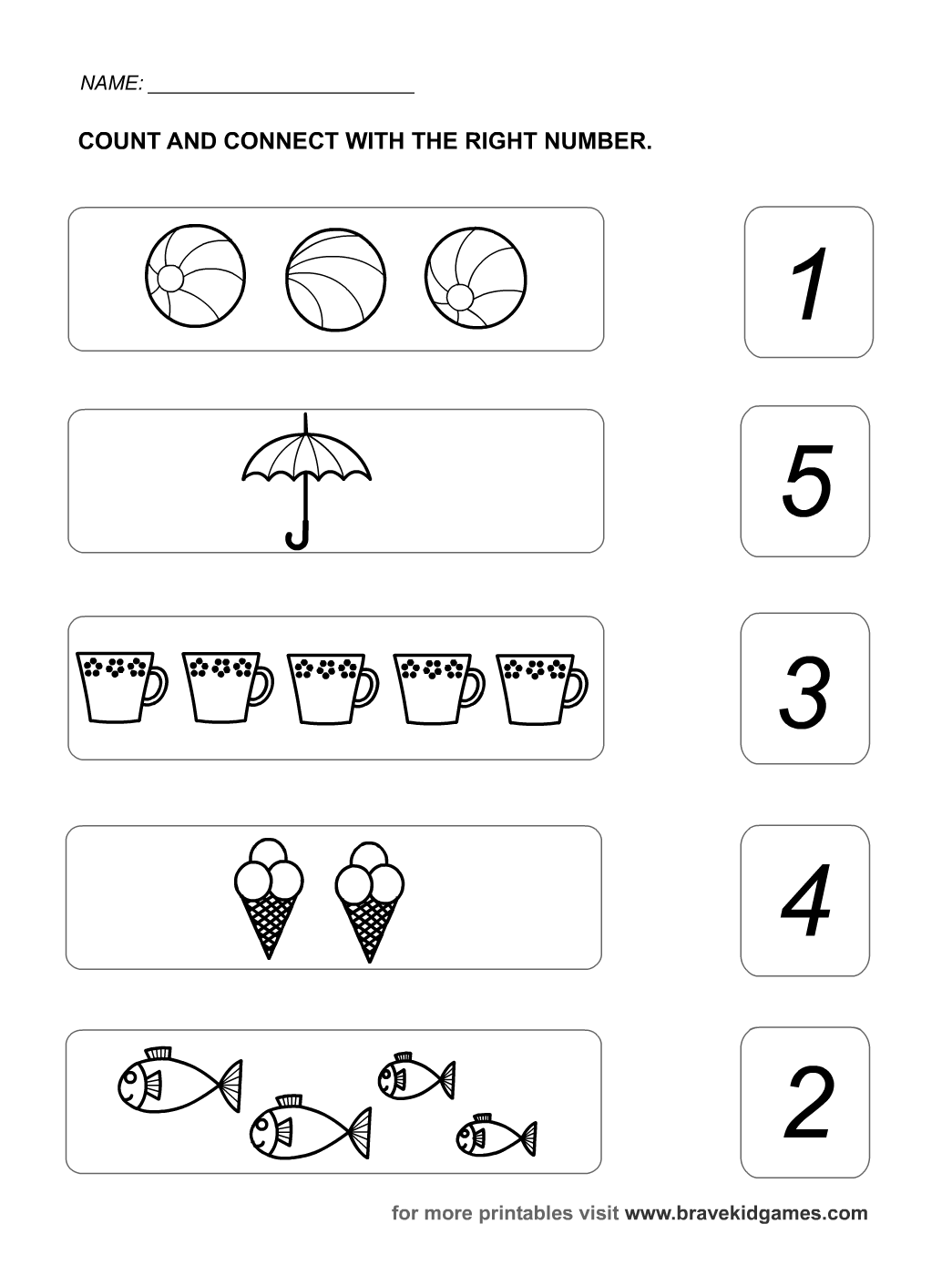 Counting 1 5 Worksheets Preschool