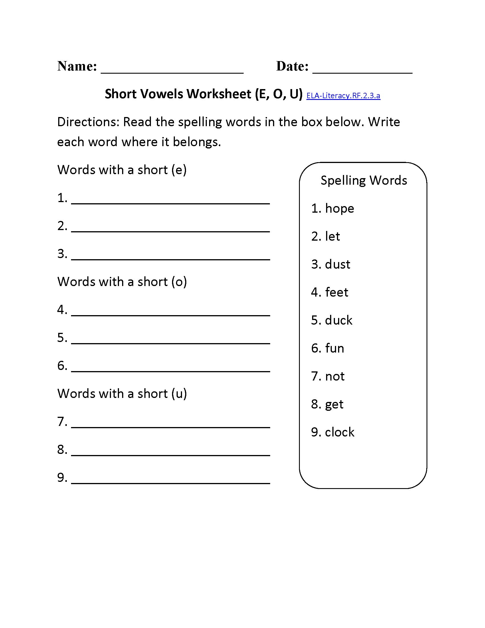 Phonics Worksheets 2nd Grade