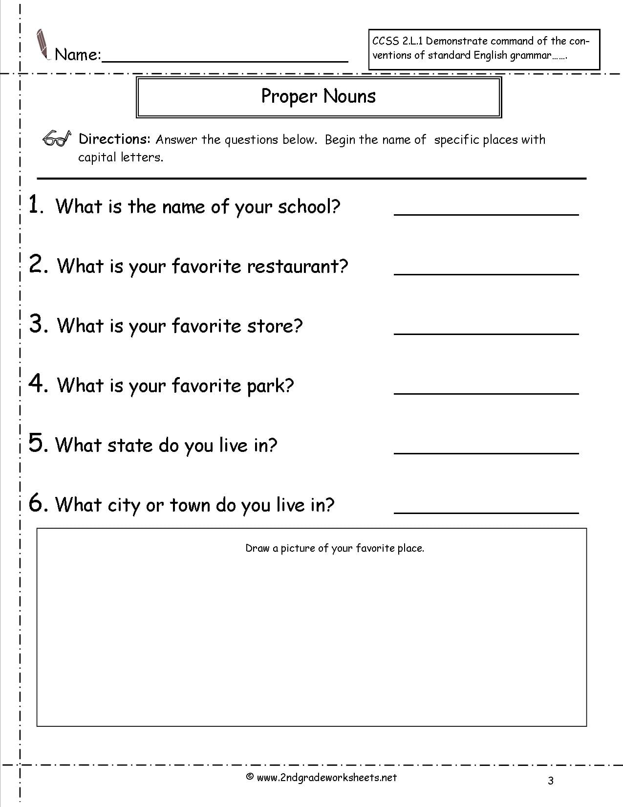 Worksheets Of Common And Proper Noun
