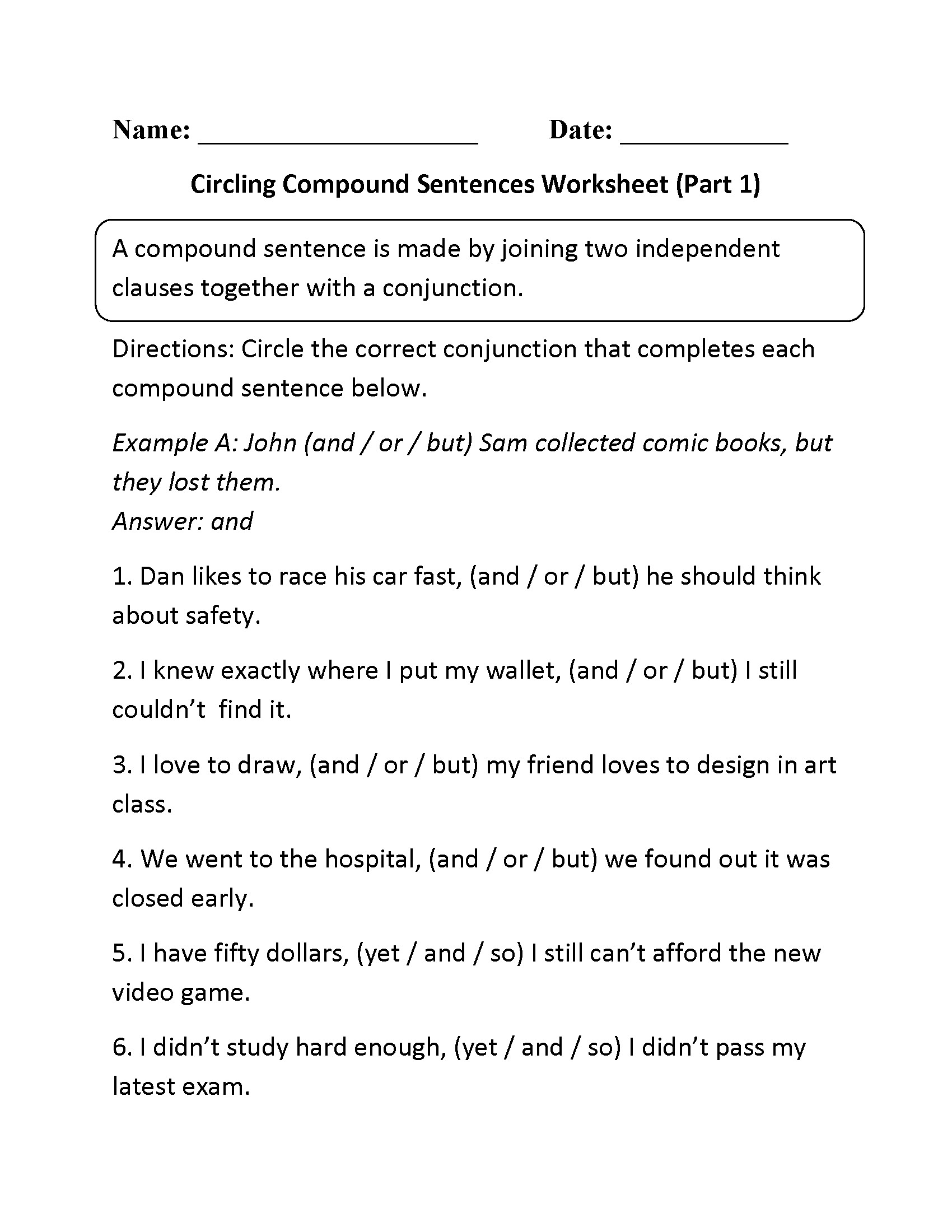 Compound Words In Sentences Worksheets