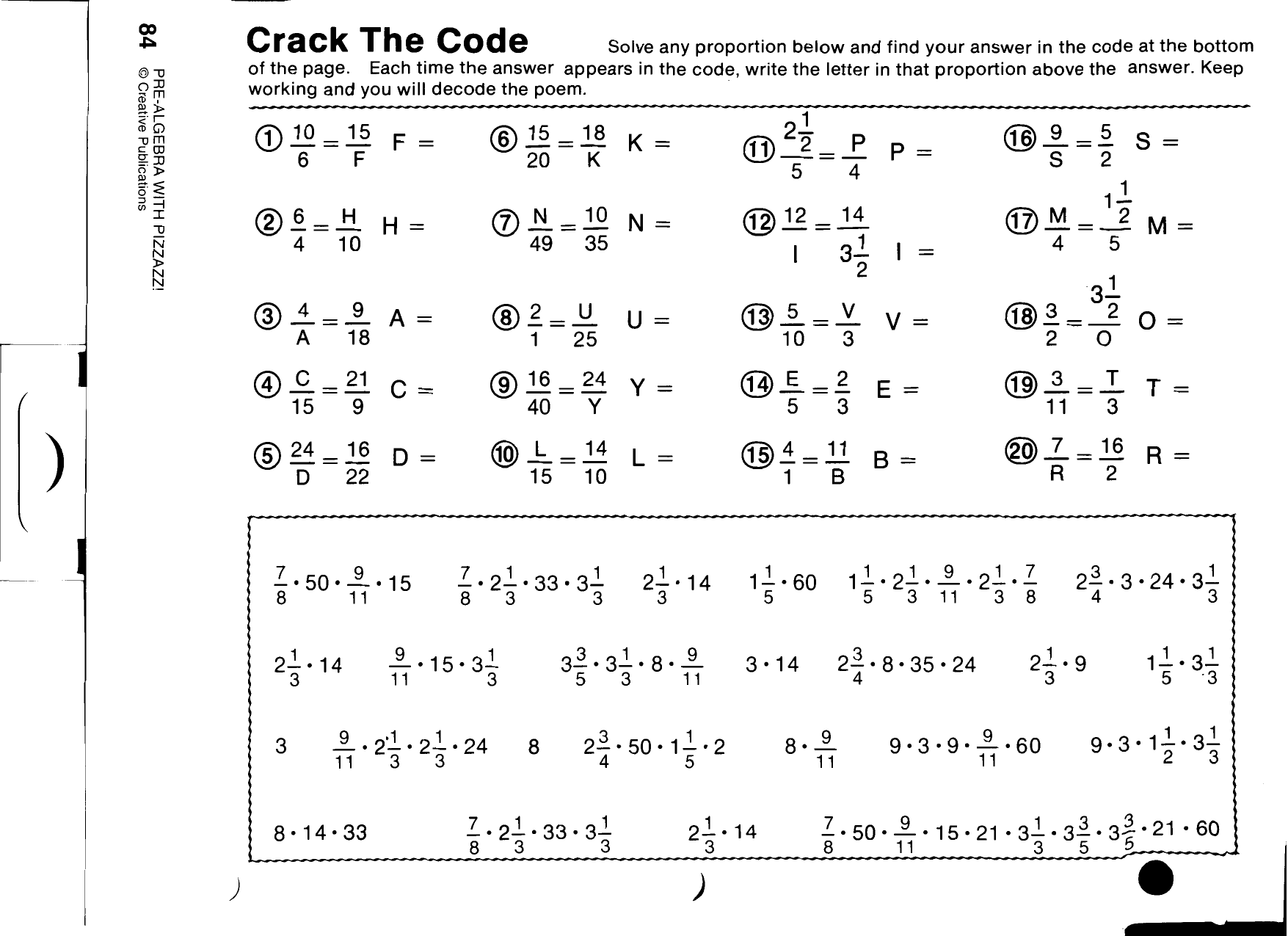 Pre Algebra With Pizzazz Worksheets